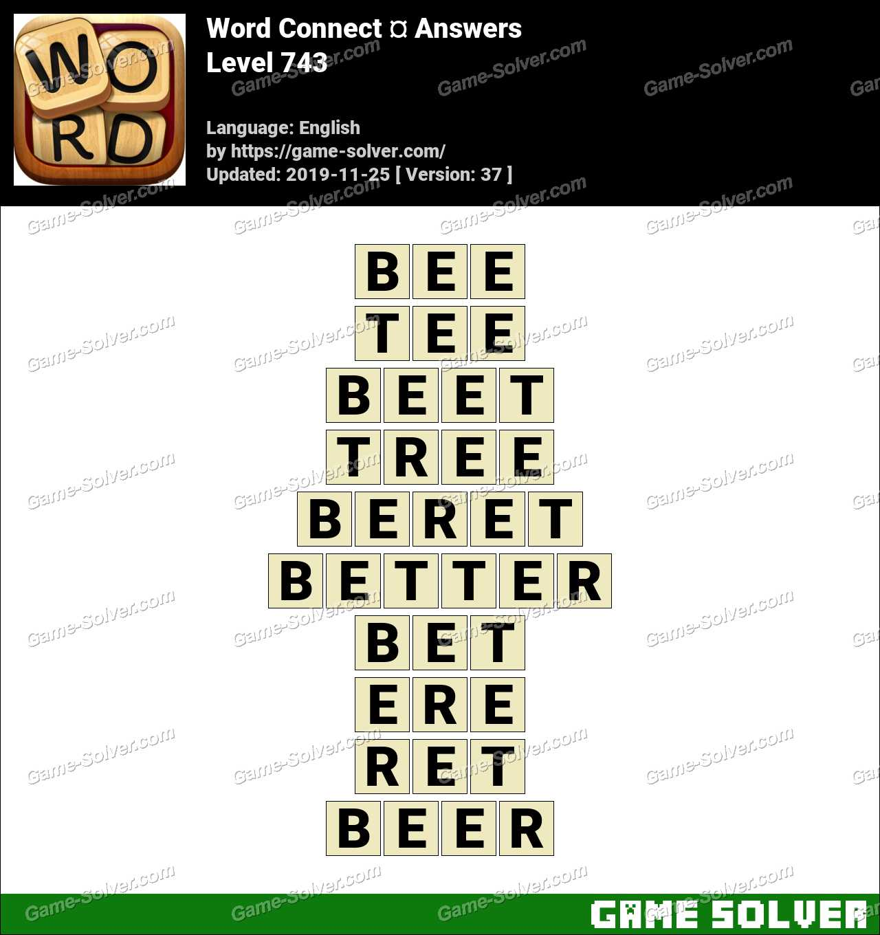 Word Connect Level 743 Answers