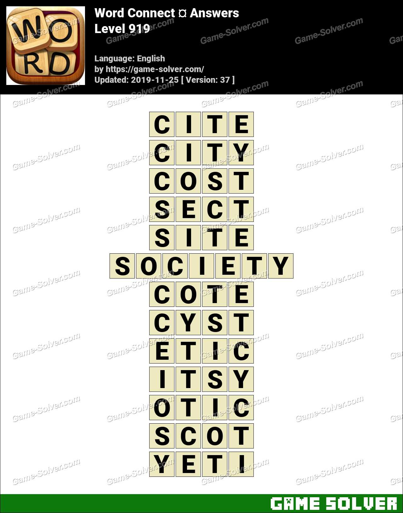 Word Connect Level 919 Answers