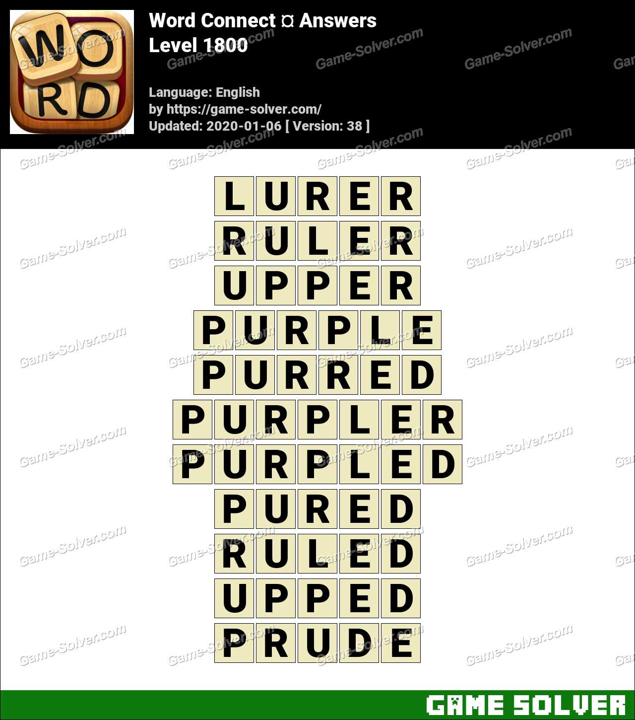 Word Connect Level 1800 Answers