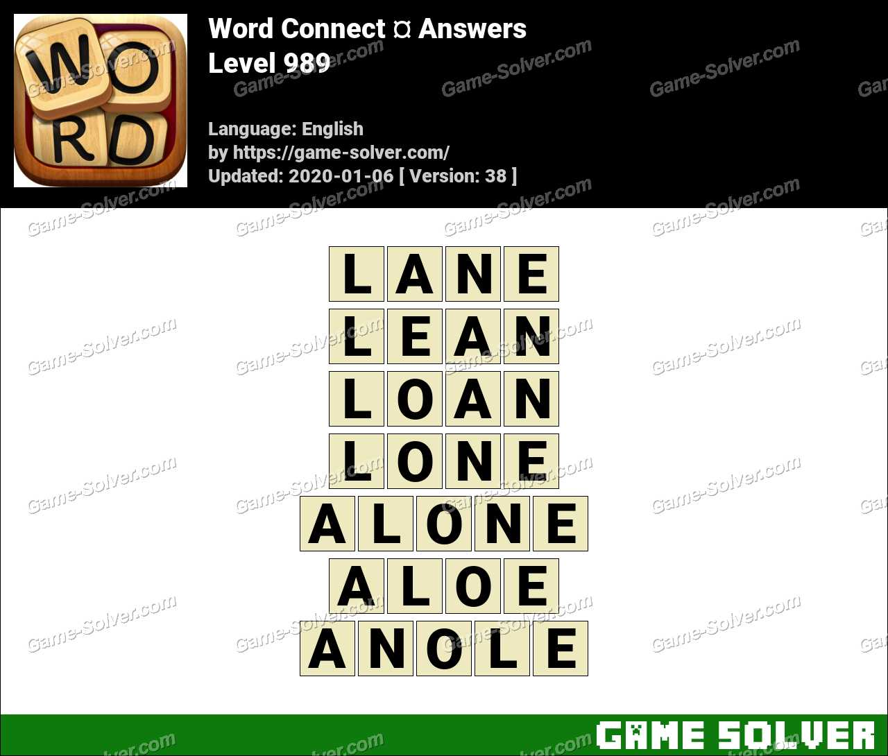 Word Connect Level 989 Answers