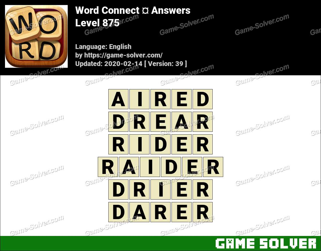 Word Connect Level 875 Answers