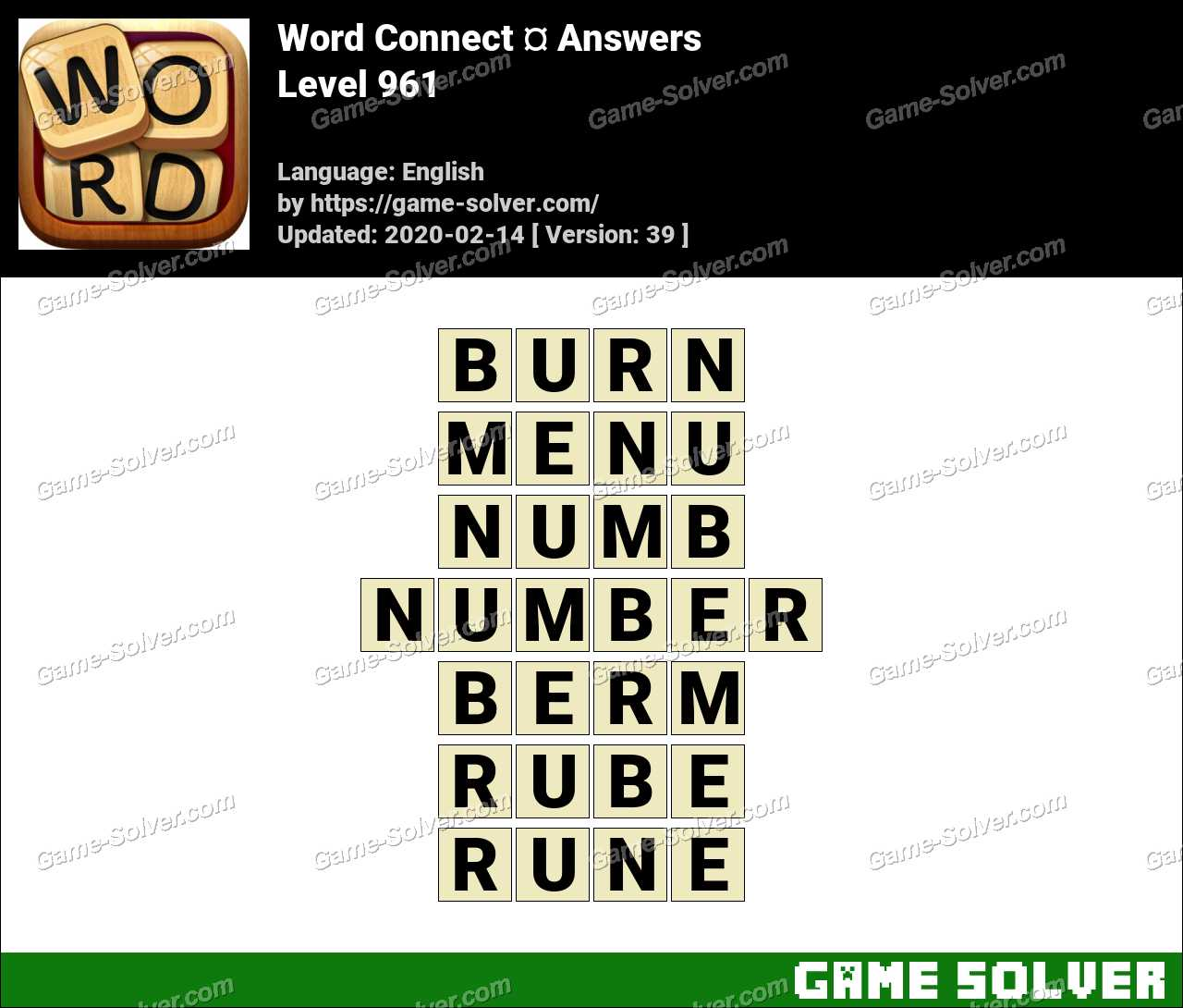 Word Connect Level 961 Answers