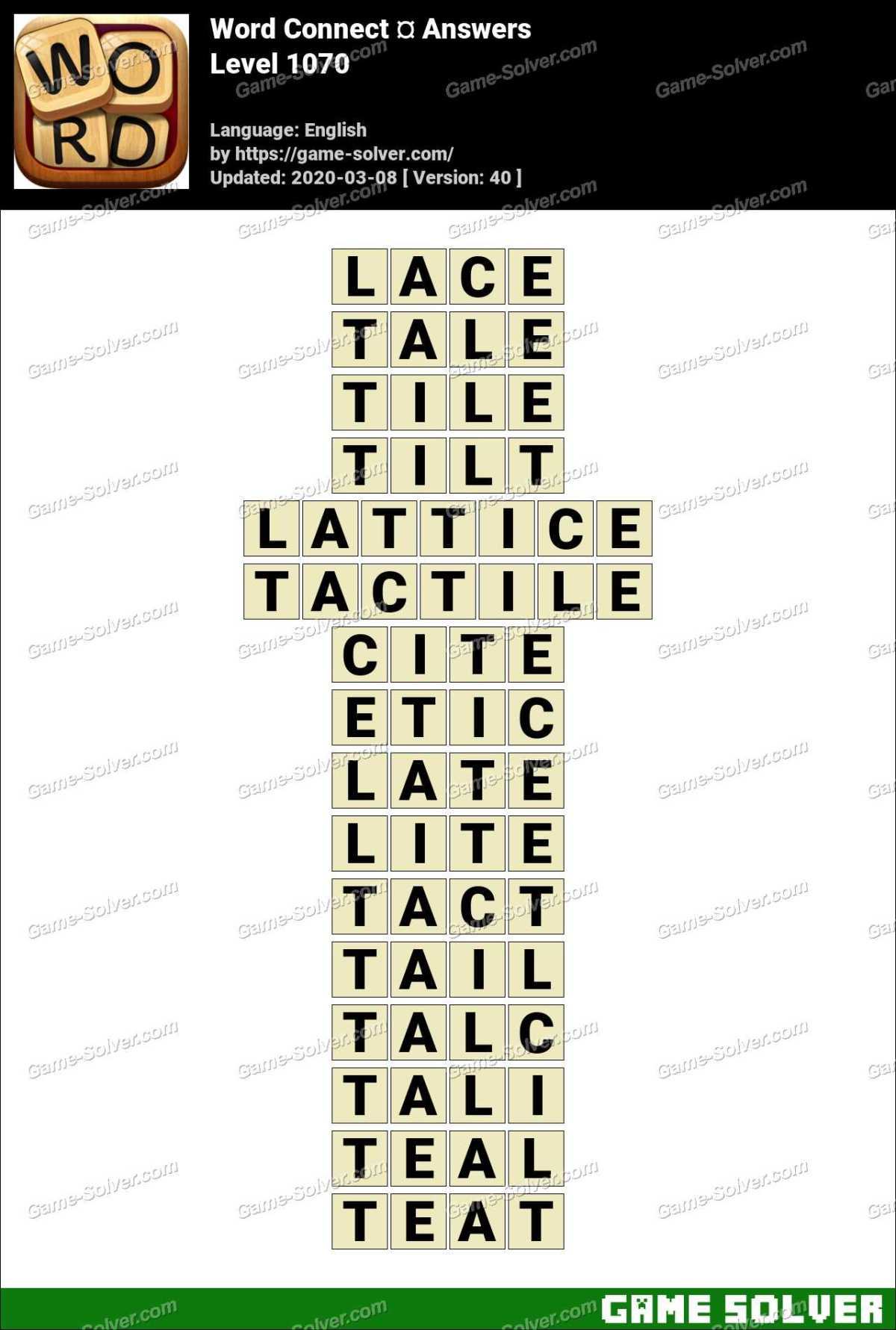 Word Connect Level 1070 Answers