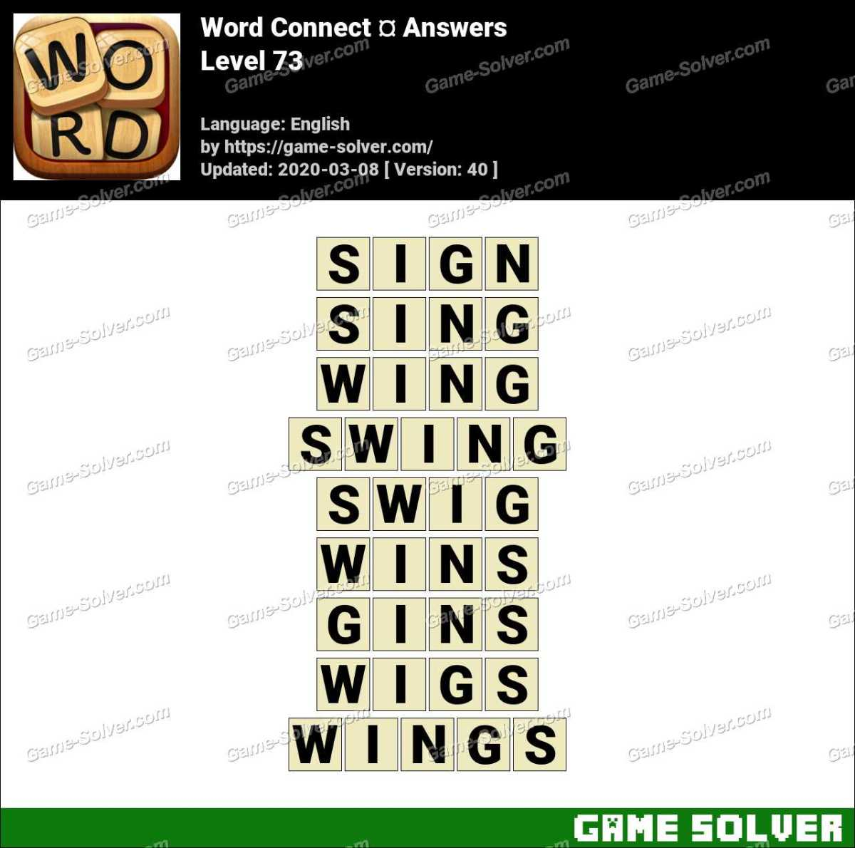 Word Connect Level 73 Answers