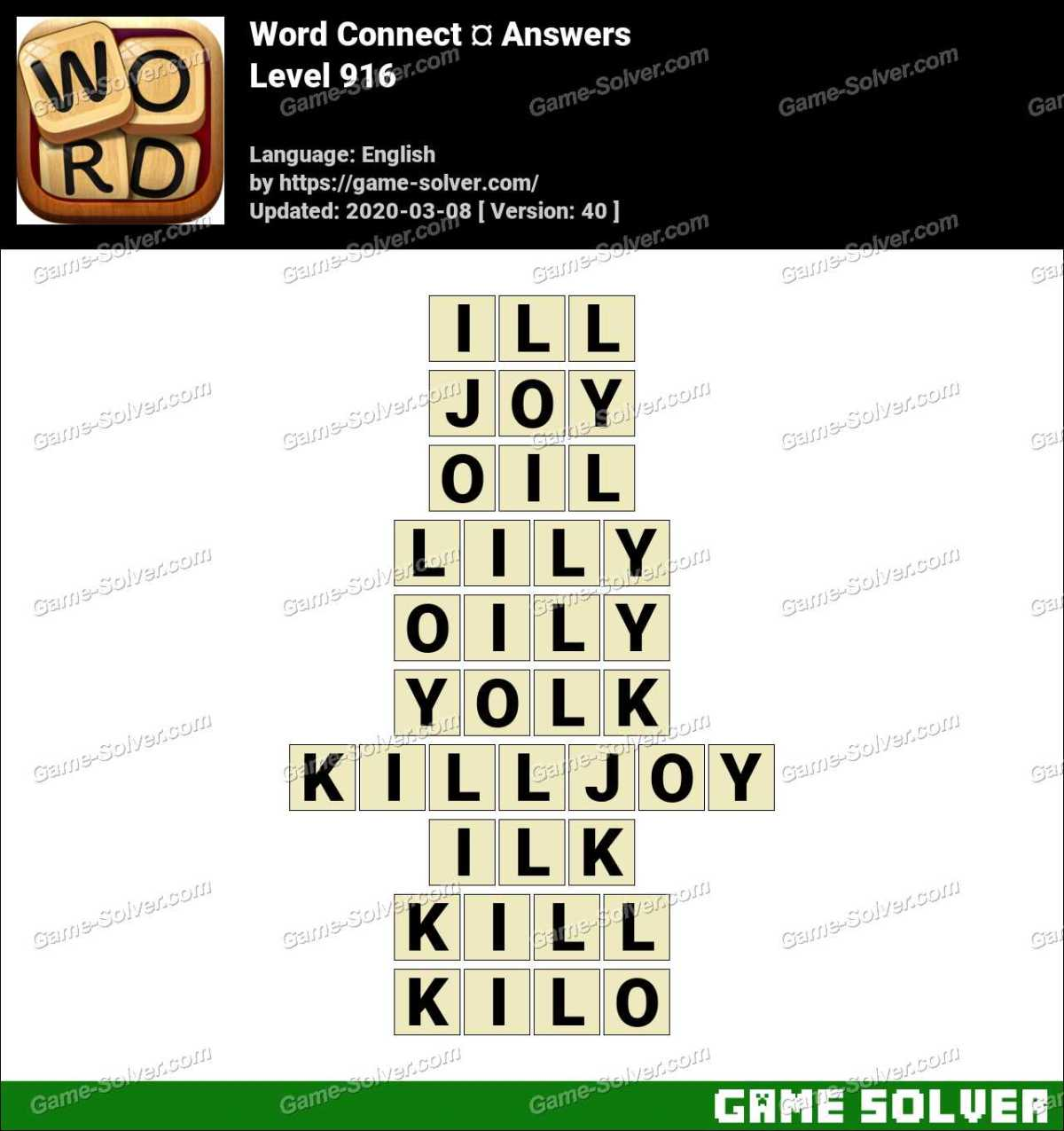 Word Connect Level 916 Answers