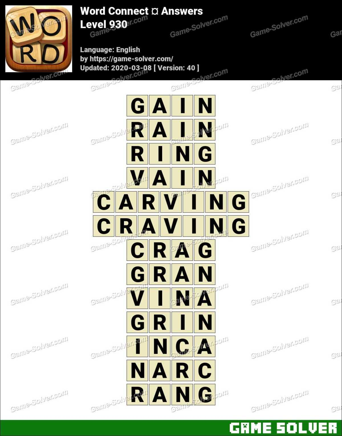 Word Connect Level 930 Answers