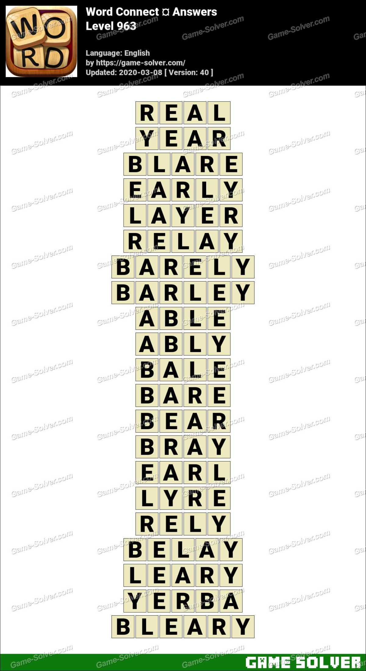 Word Connect Level 963 Answers