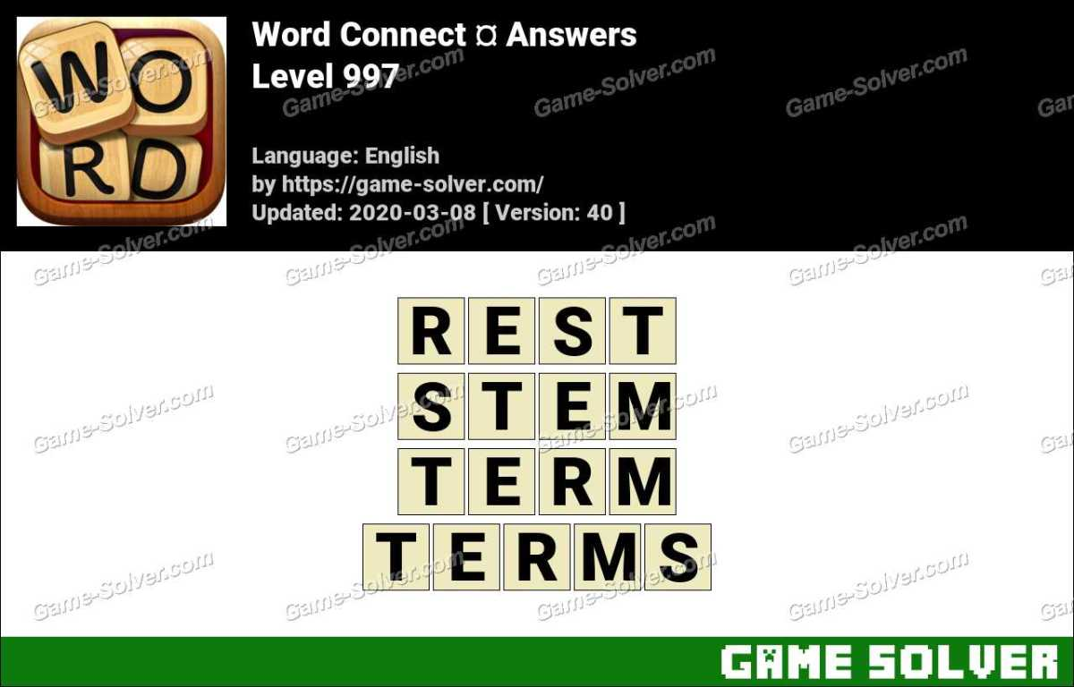 Word Connect Level 997 Answers