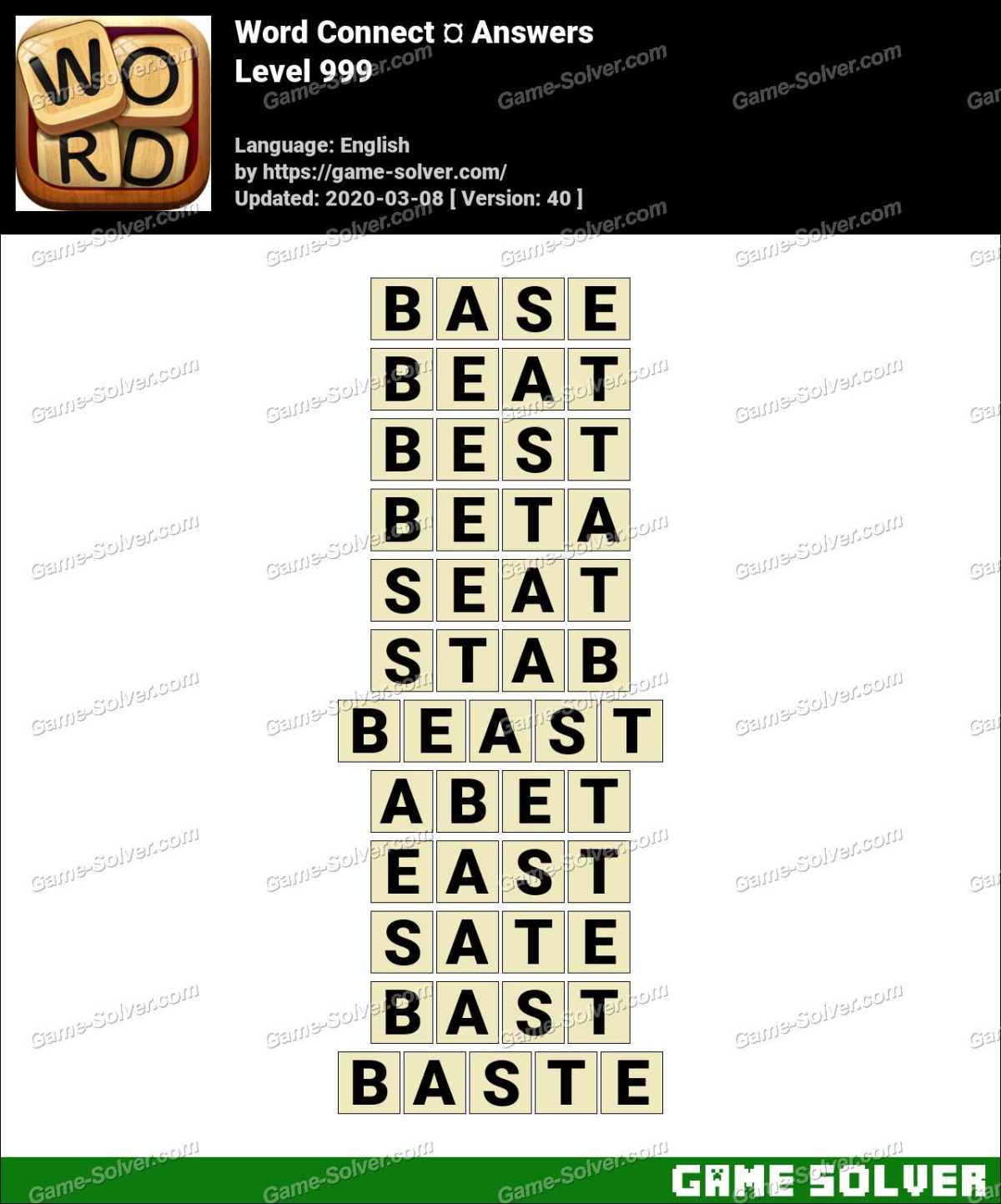 Word Connect Level 999 Answers