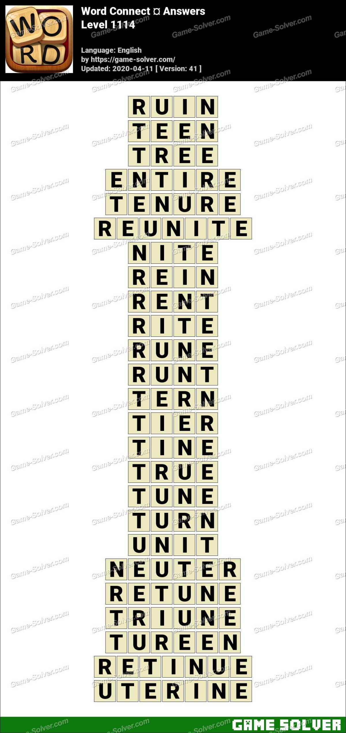 Word Connect Level 1114 Answers