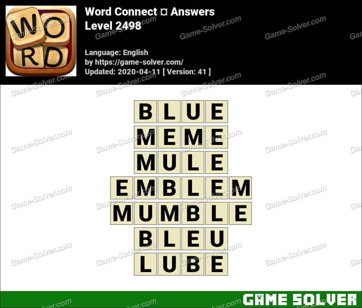 Word Connect Level 2498 Answers