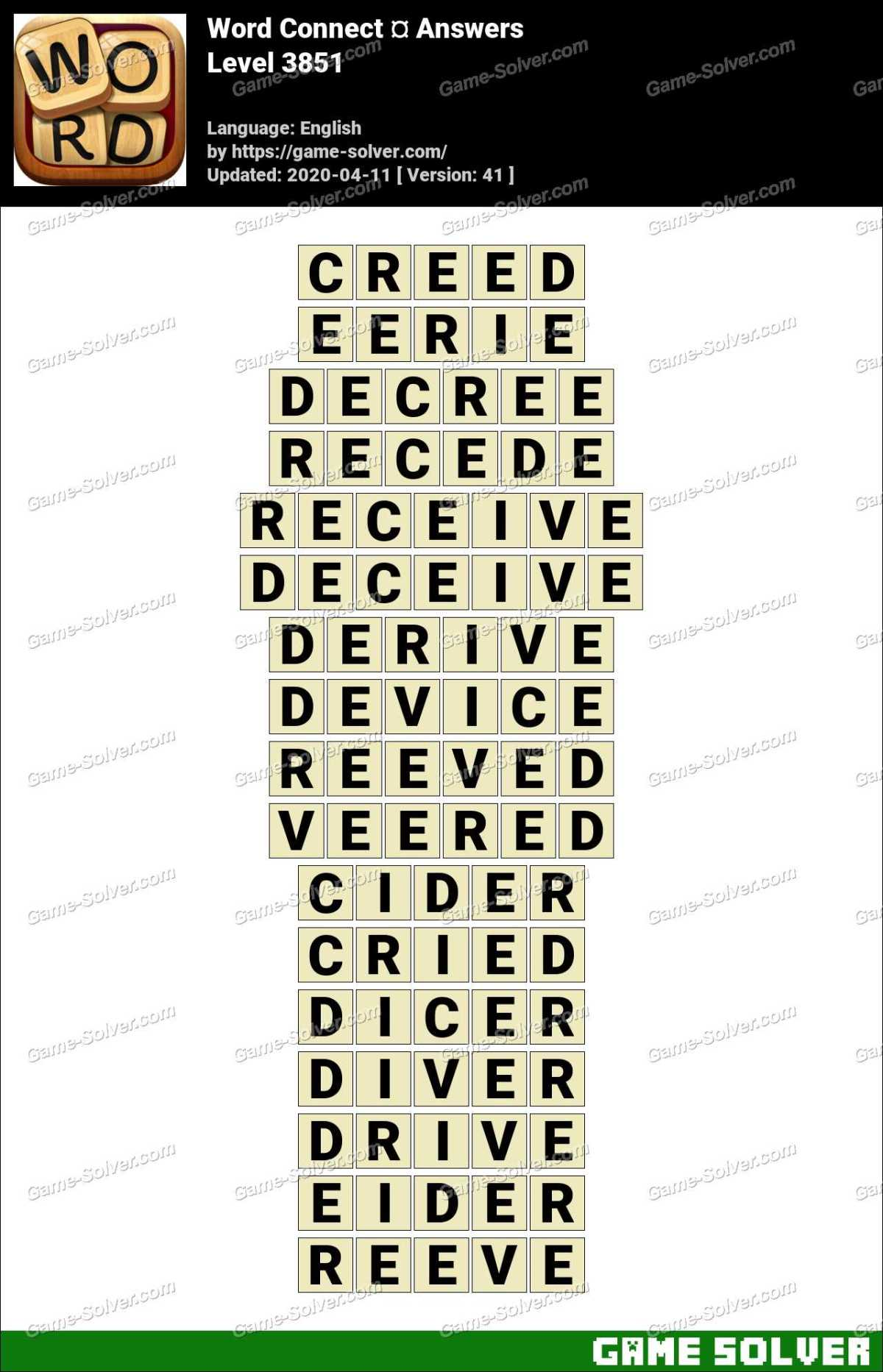 Word Connect Level 3851 Answers