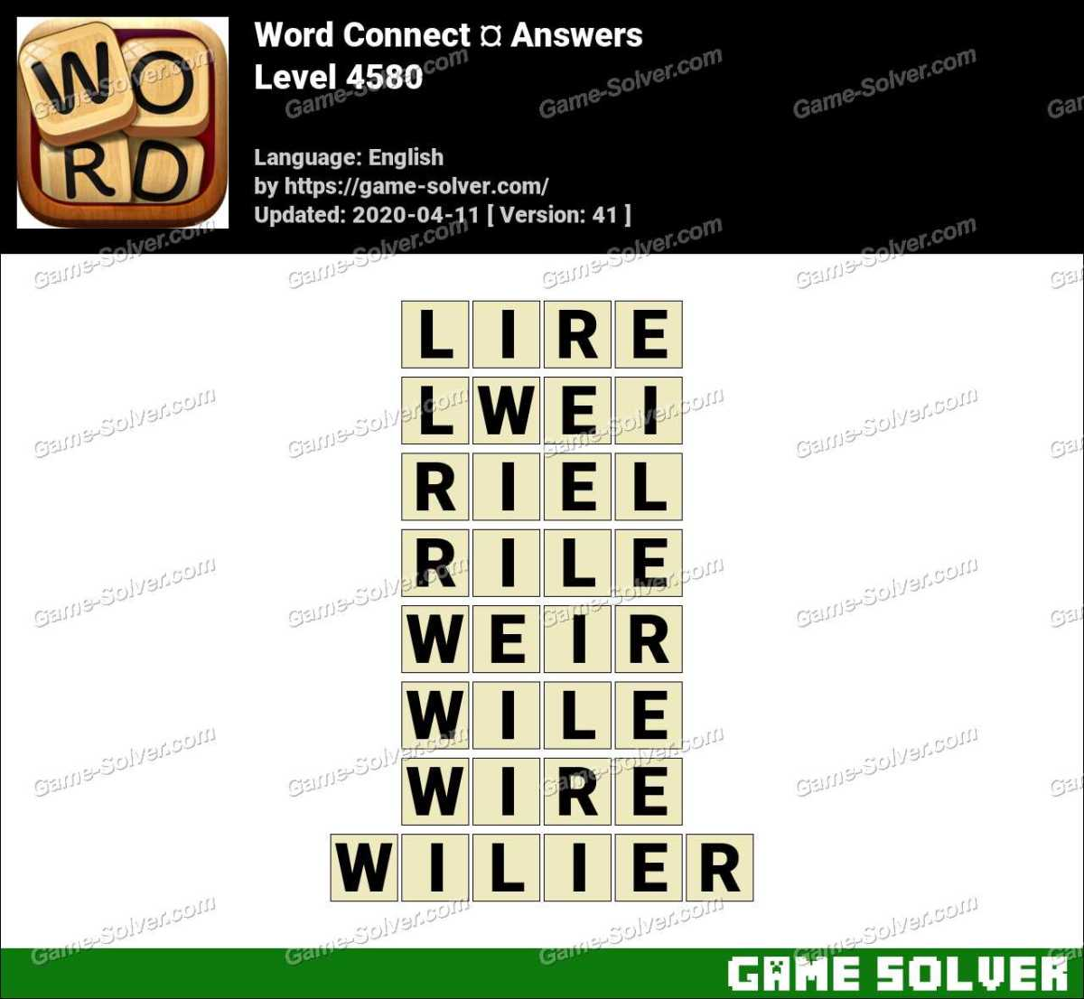 Word Connect Level 4580 Answers