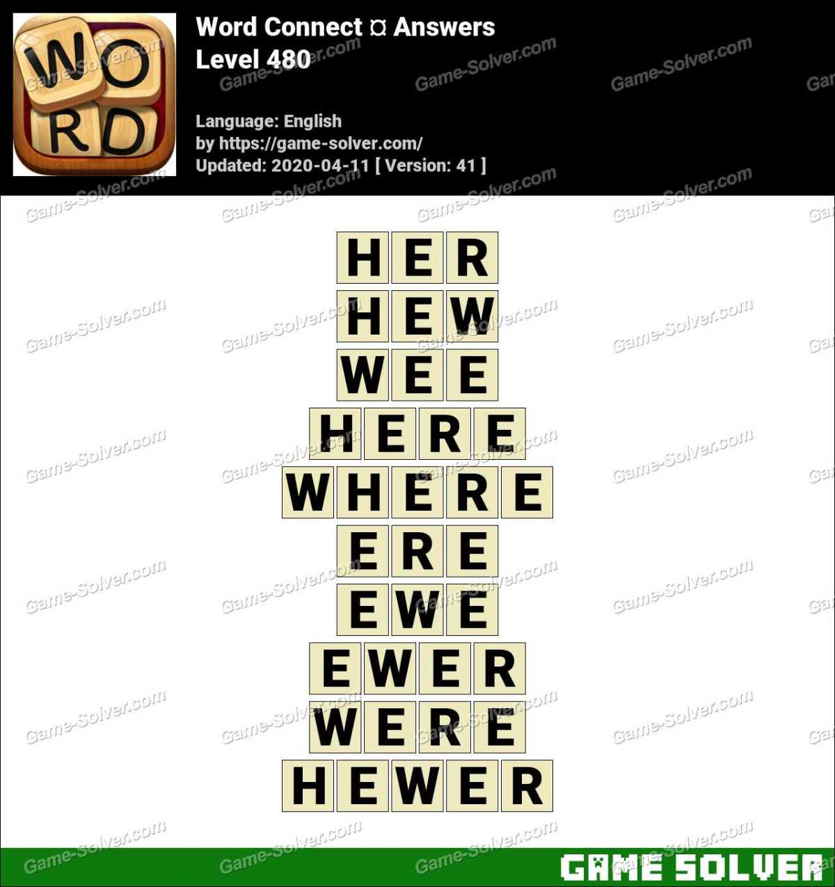 Word Connect Level 480 Answers