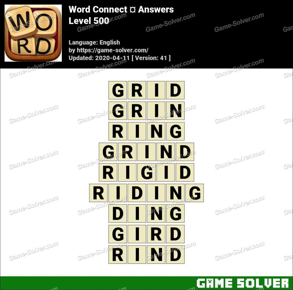 Word Connect Level 500 Answers