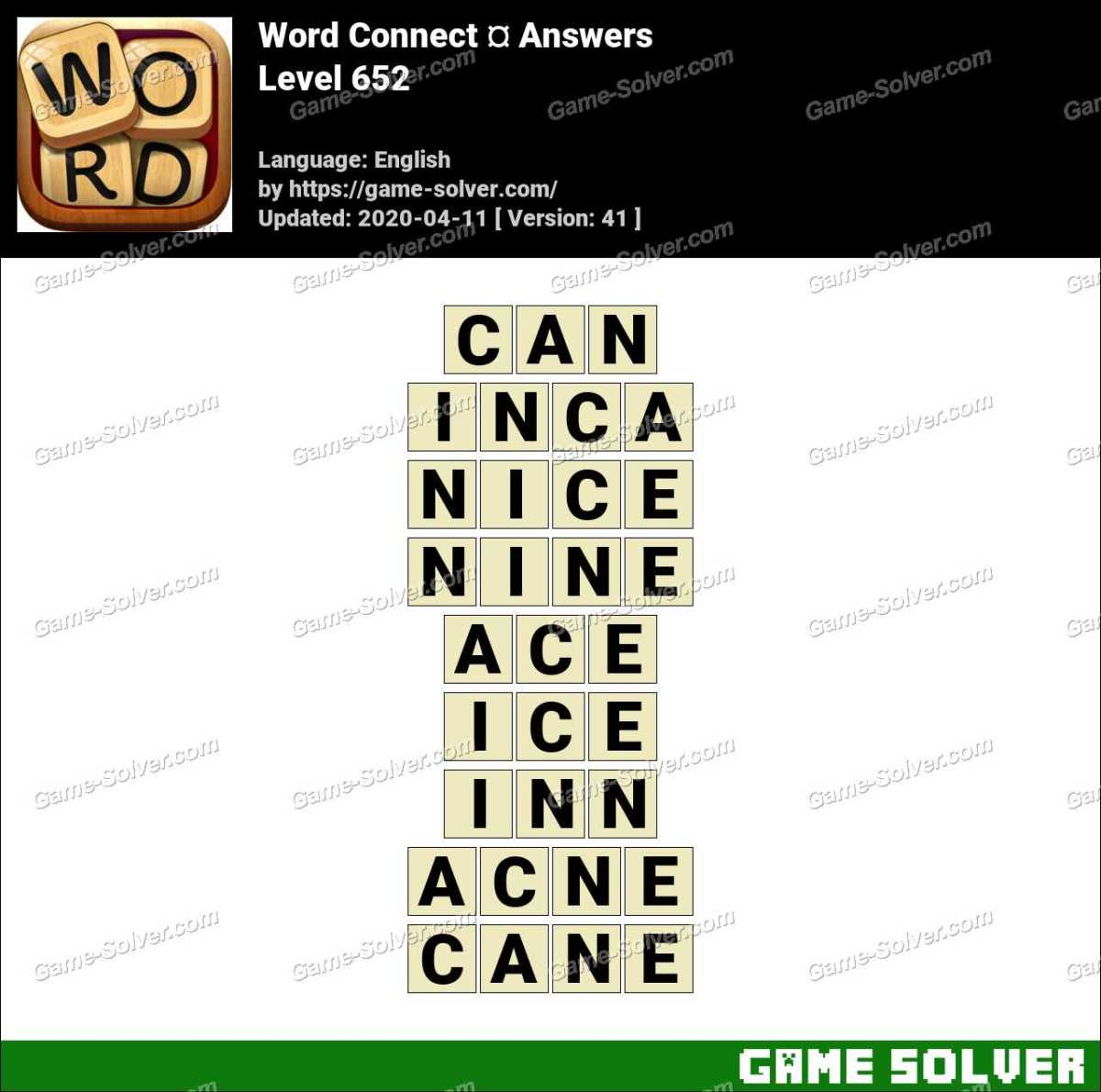 Word Connect Level 652 Answers