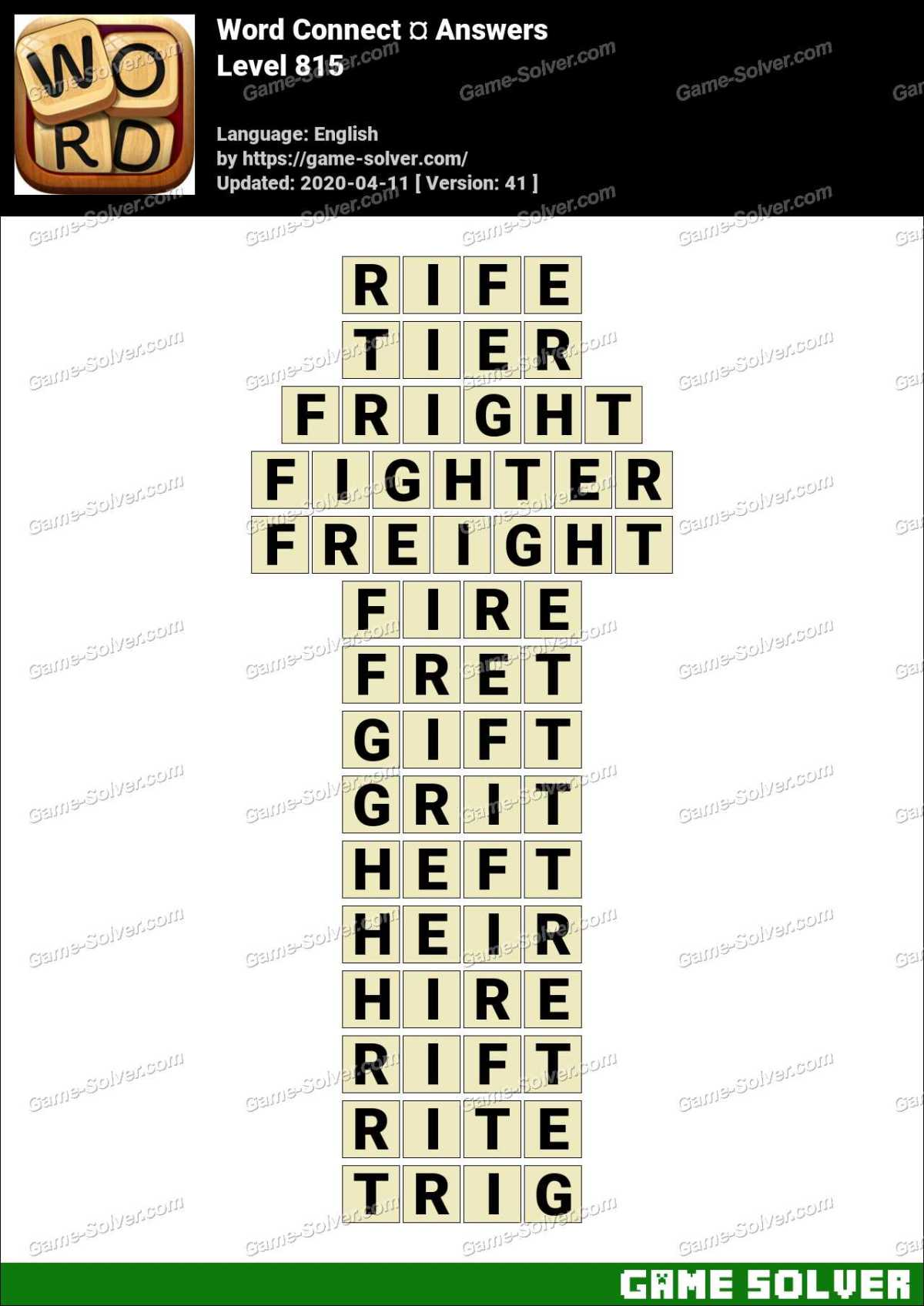 Word Connect Level 815 Answers