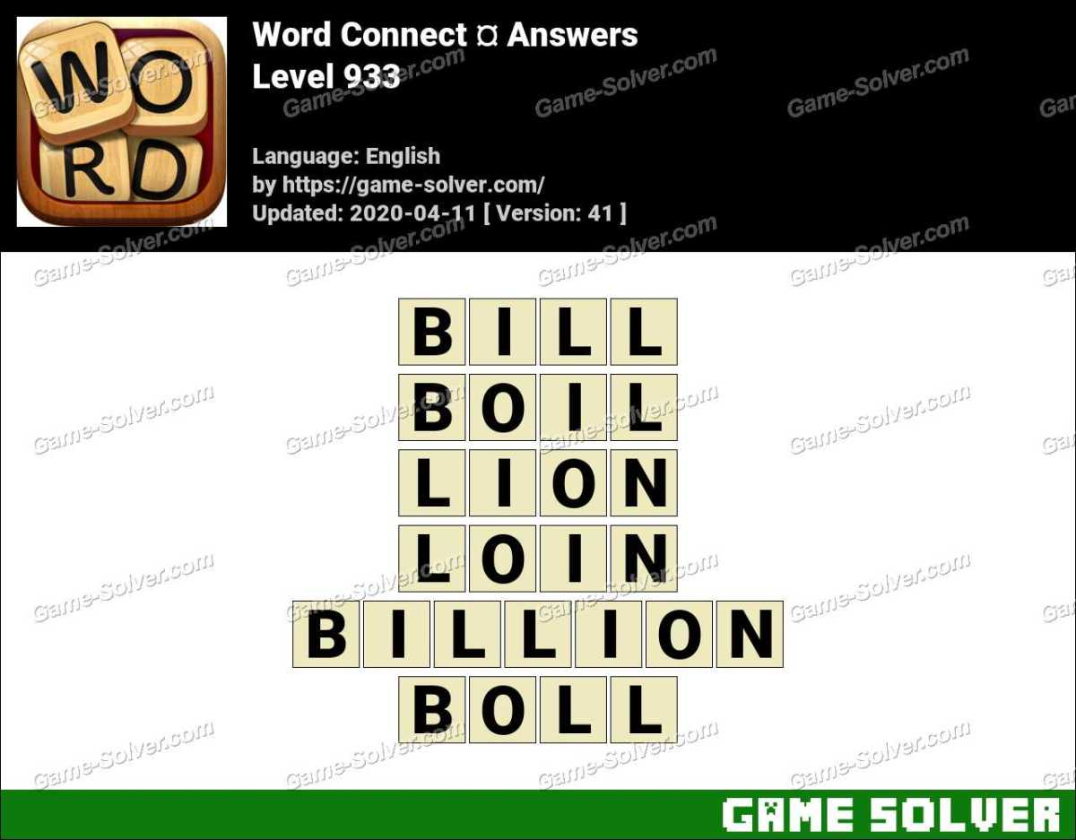 Word Connect Level 933 Answers