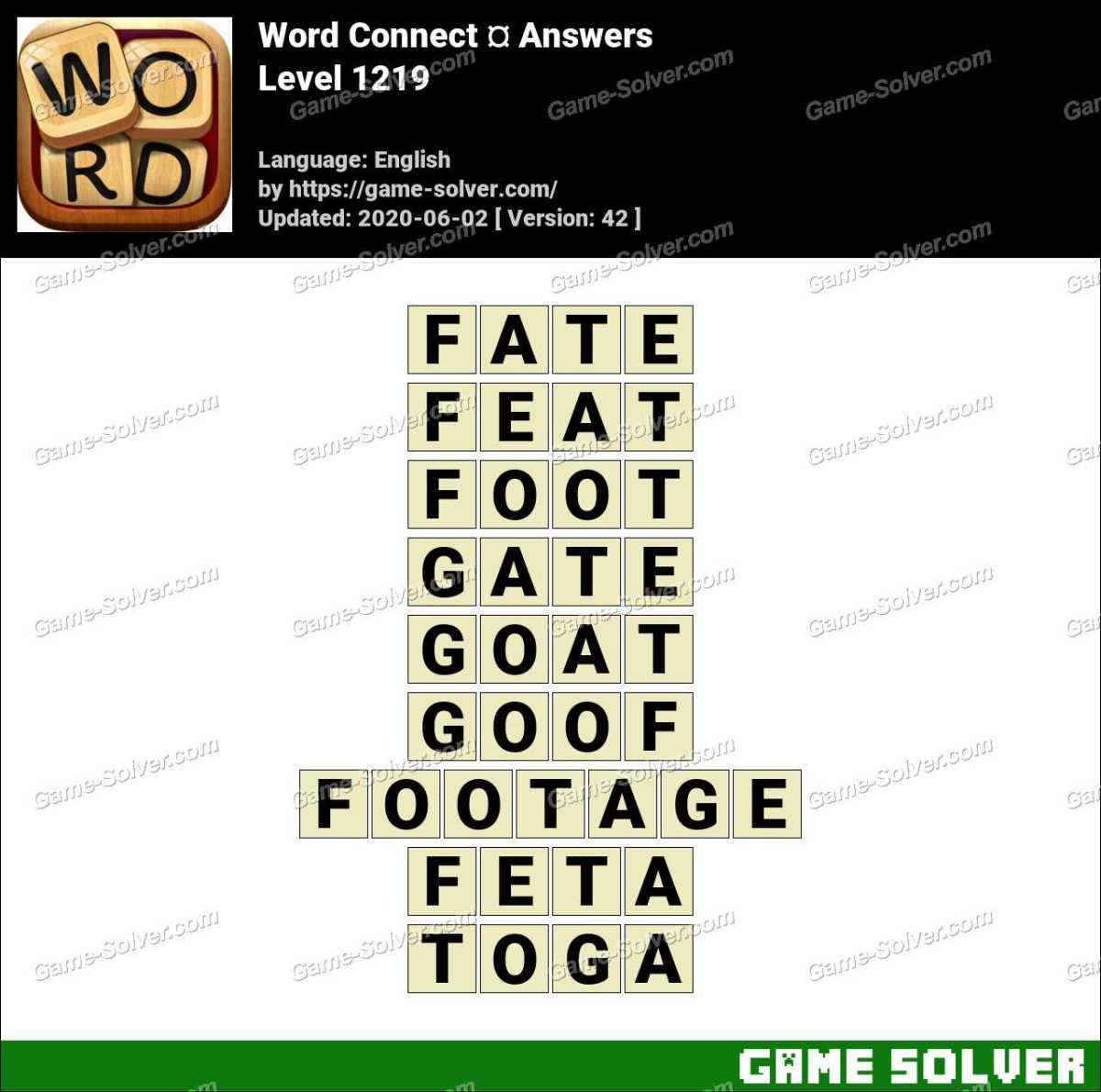 Word Connect Level 1219 Answers