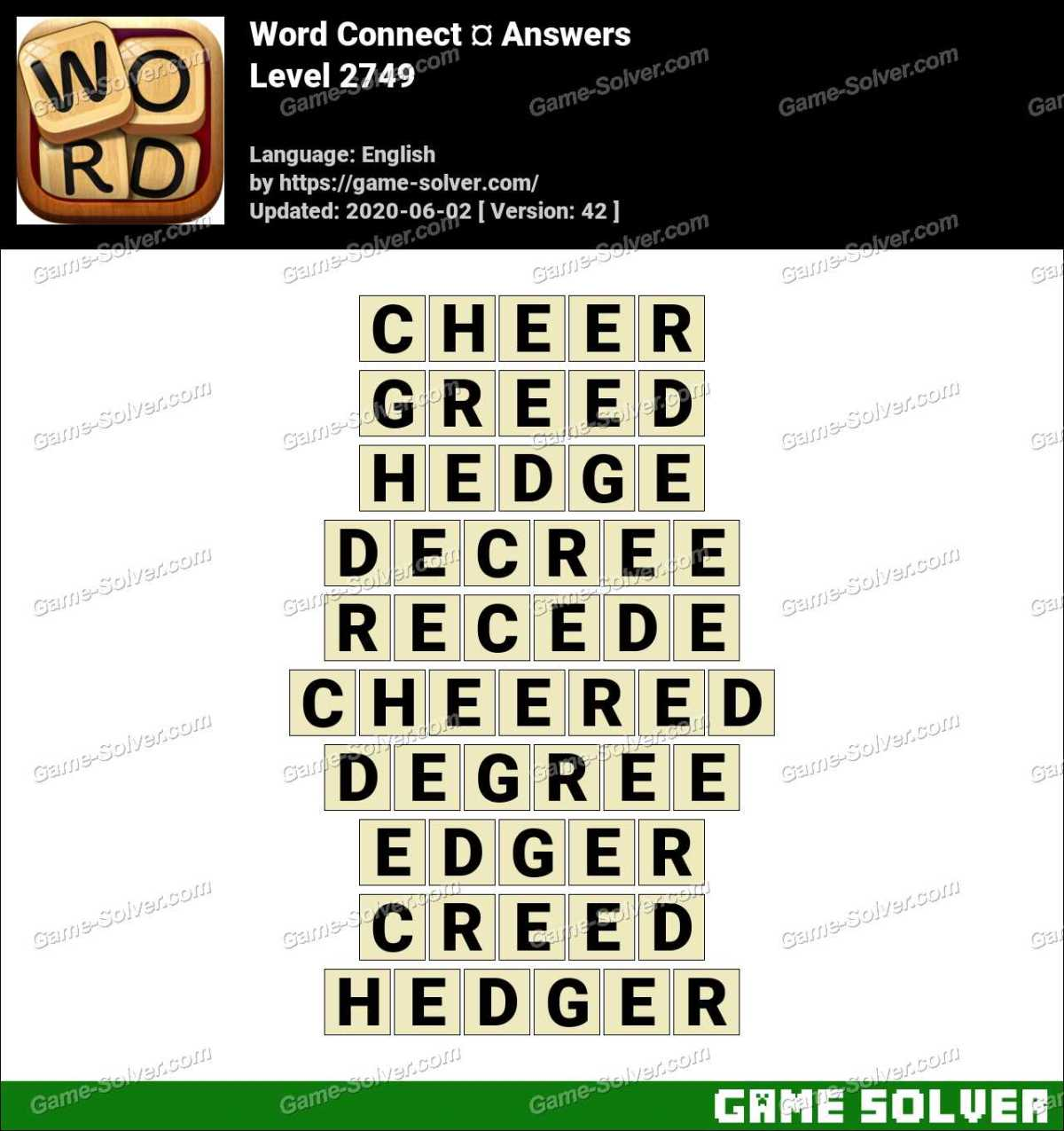 Word Connect Level 2749 Answers