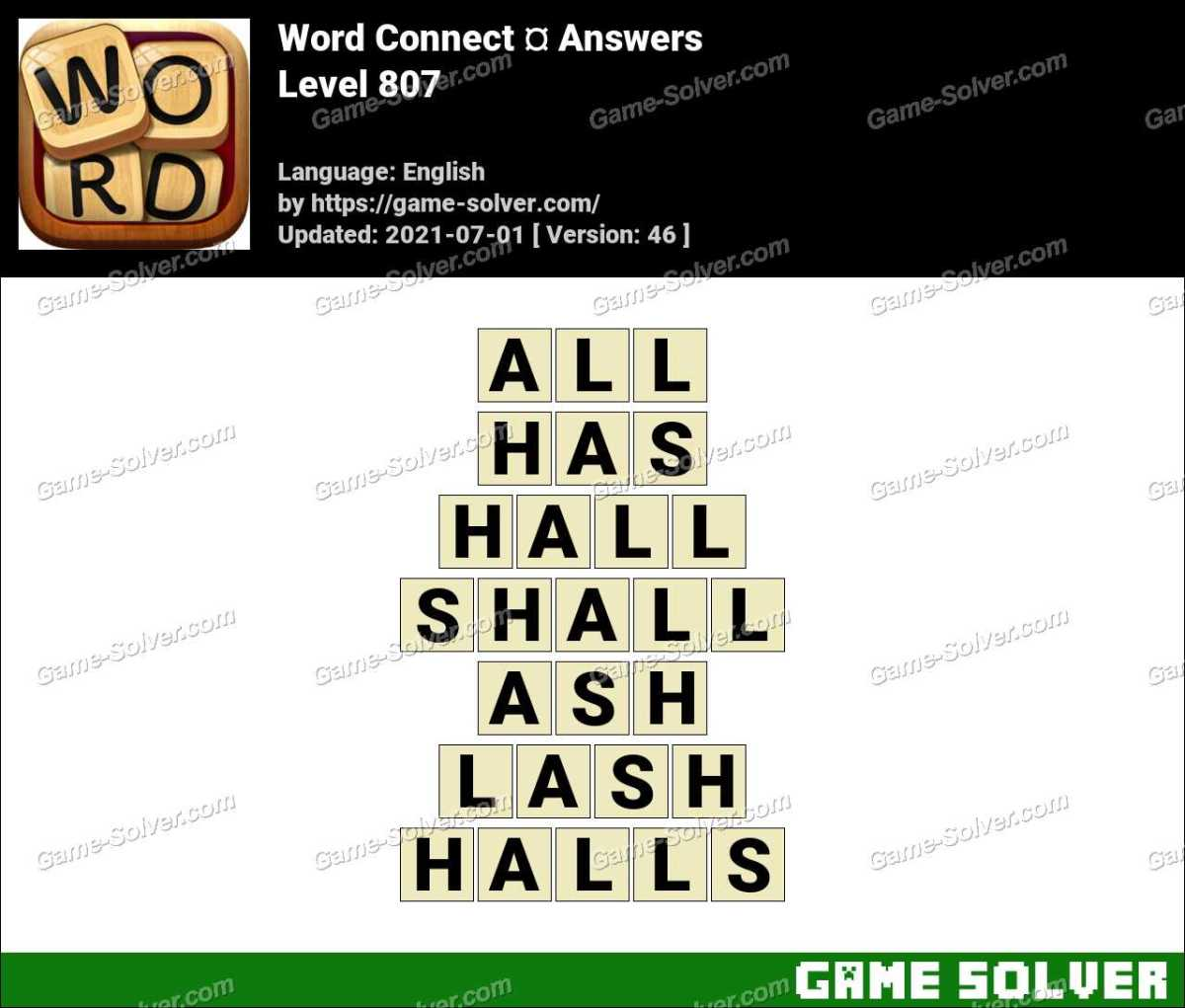 Word Connect Level 807 Answers