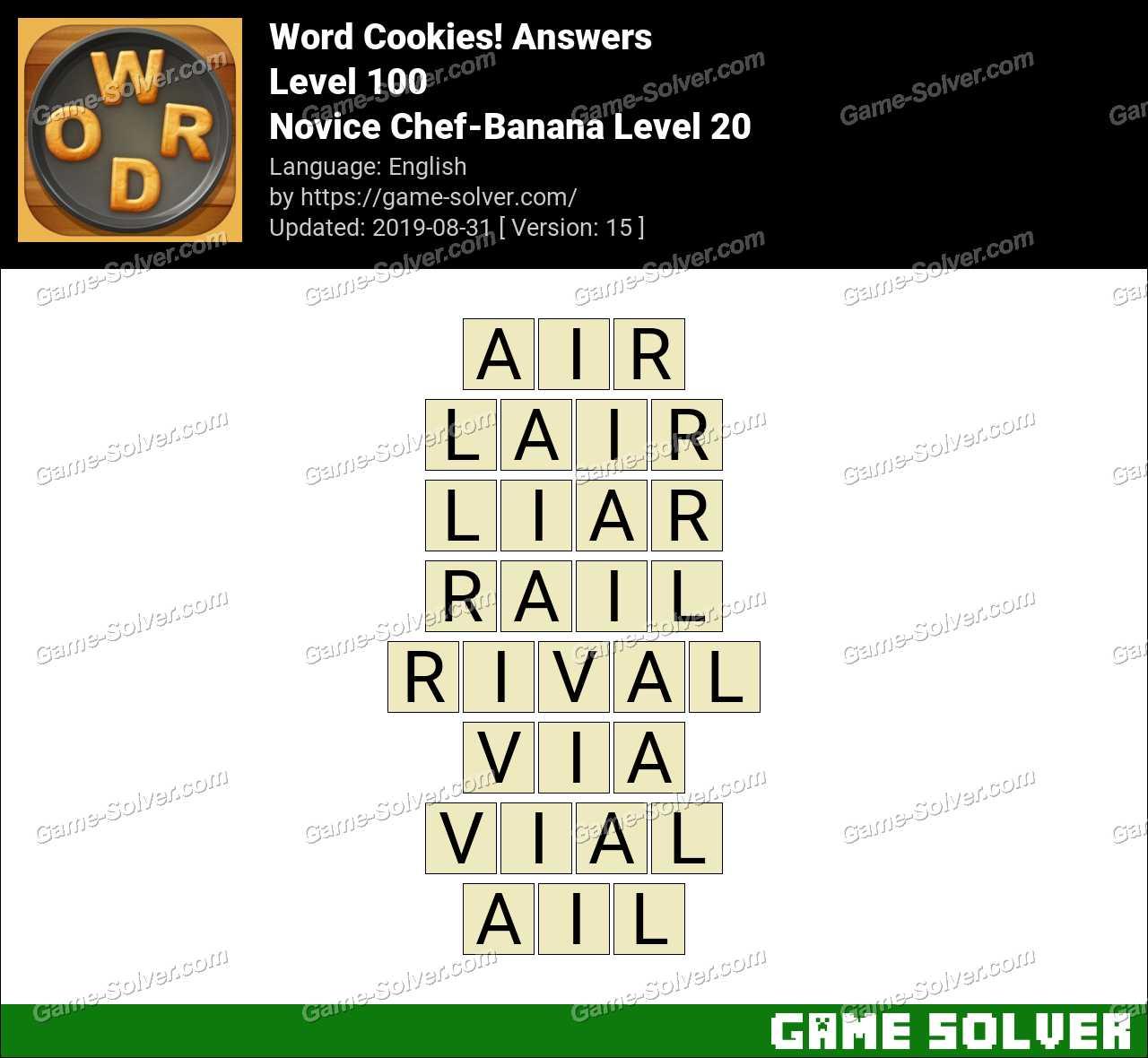 Word Cookies Novice Chef-Banana Level 20 Answers