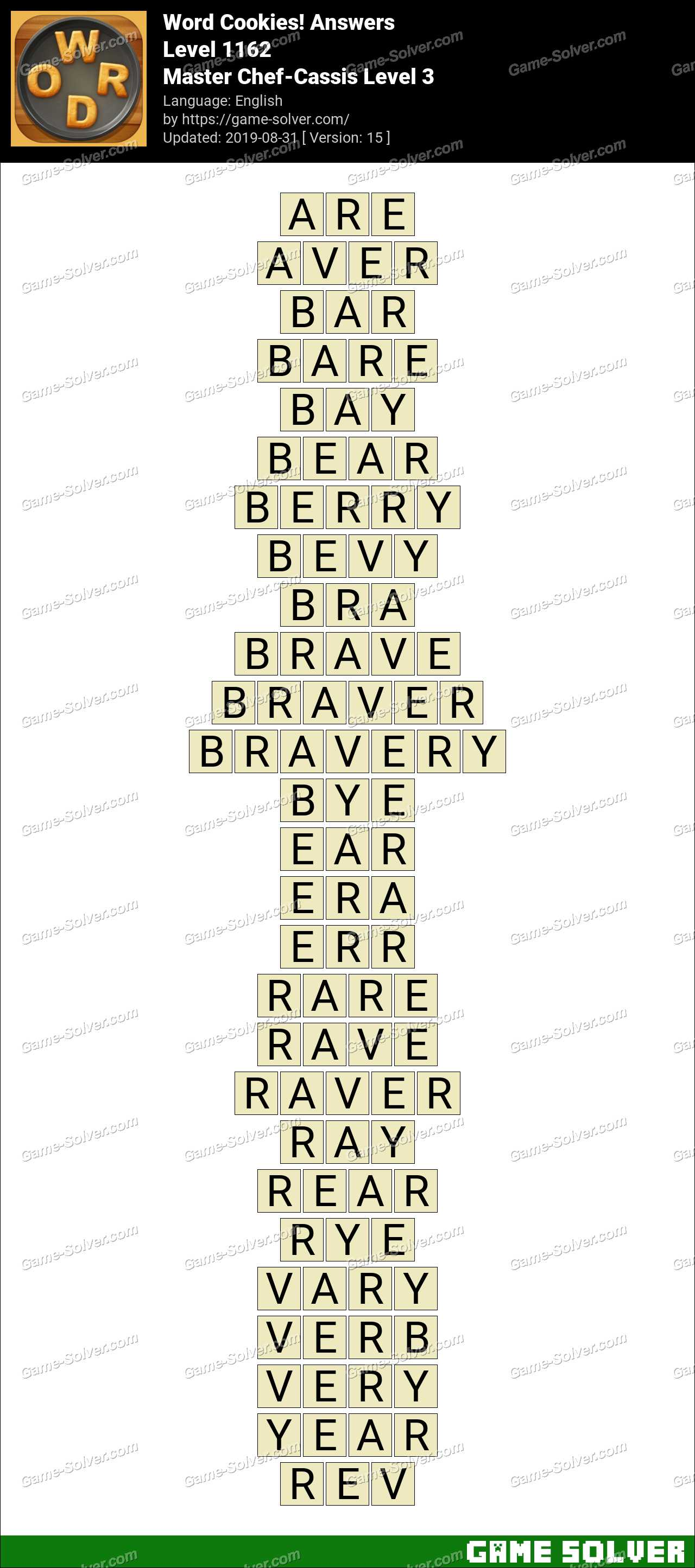 Word Cookies Master Chef-Cassis Level 3 Answers