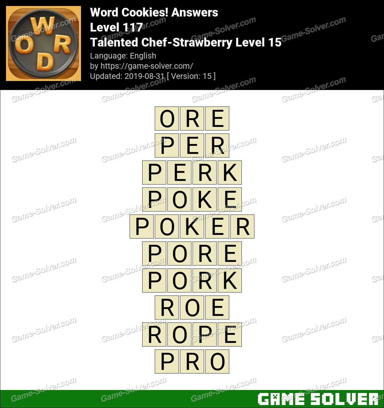 Word Cookies Talented Chef-Strawberry Level 15 Answers