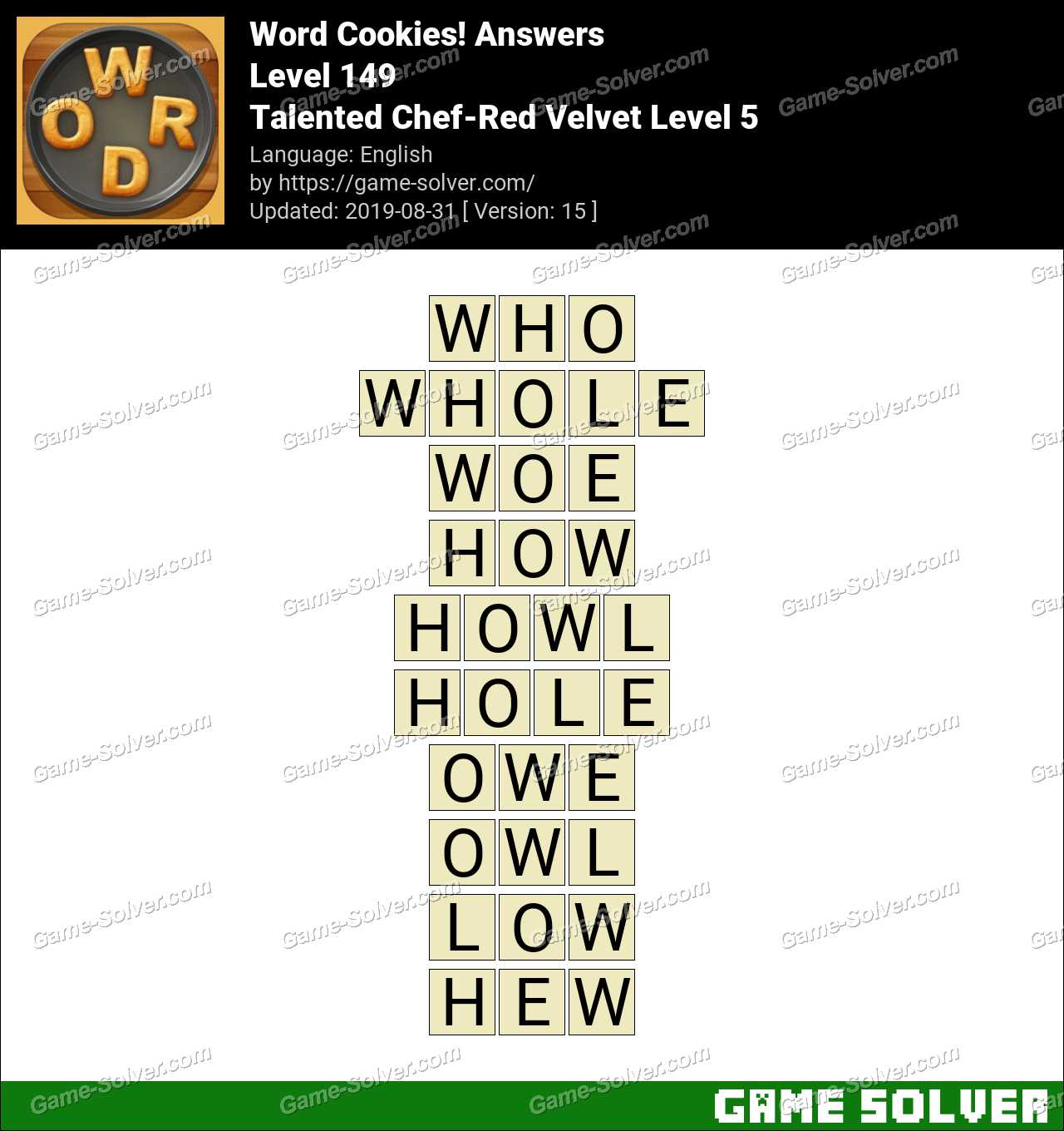 Word Cookies Talented Chef-Red Velvet Level 5 Answers
