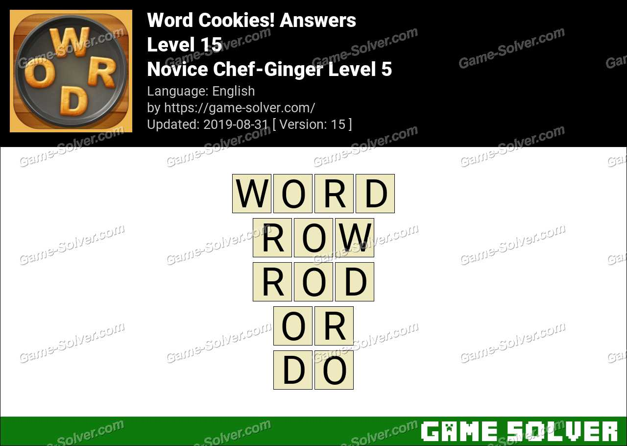 Word Cookies Novice Chef-Ginger Level 5 Answers