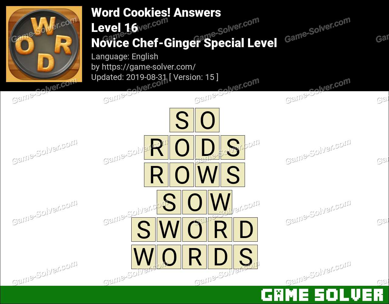 Word Cookies Novice Chef-Ginger Special Level Answers