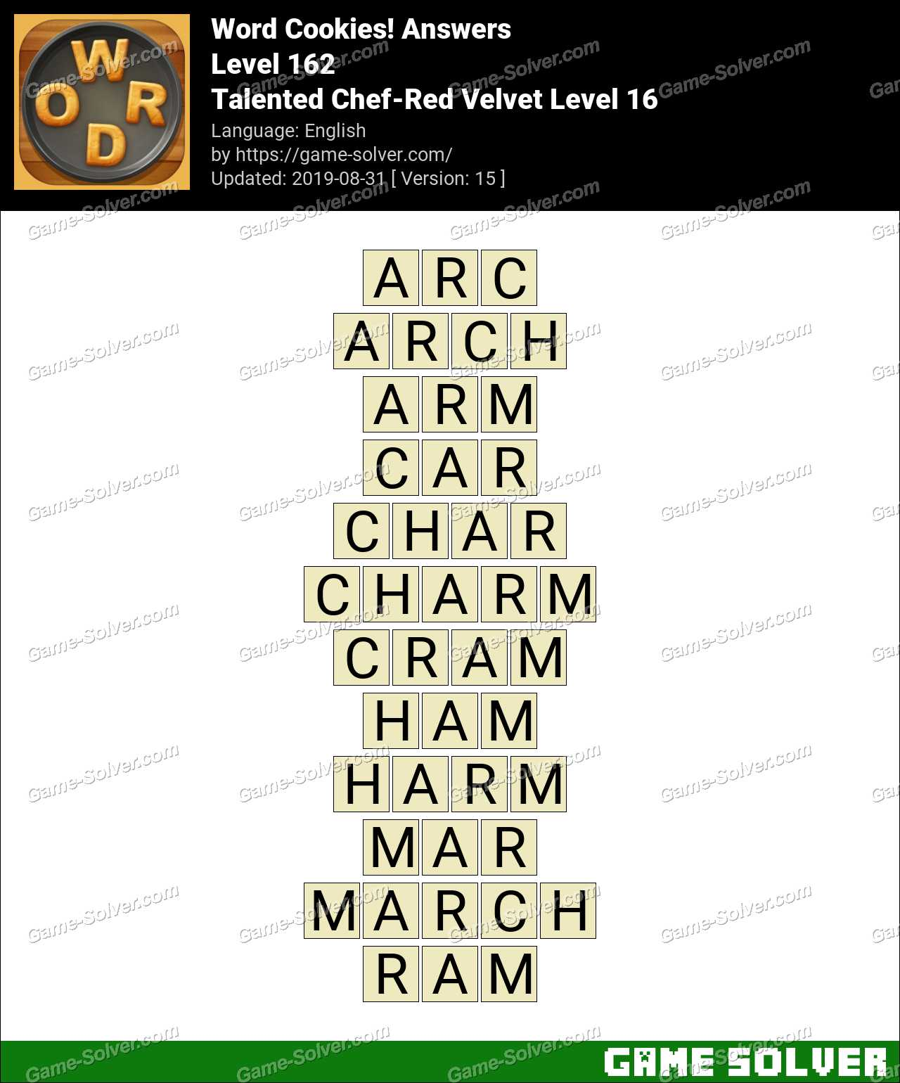 Word Cookies Talented Chef-Red Velvet Level 16 Answers