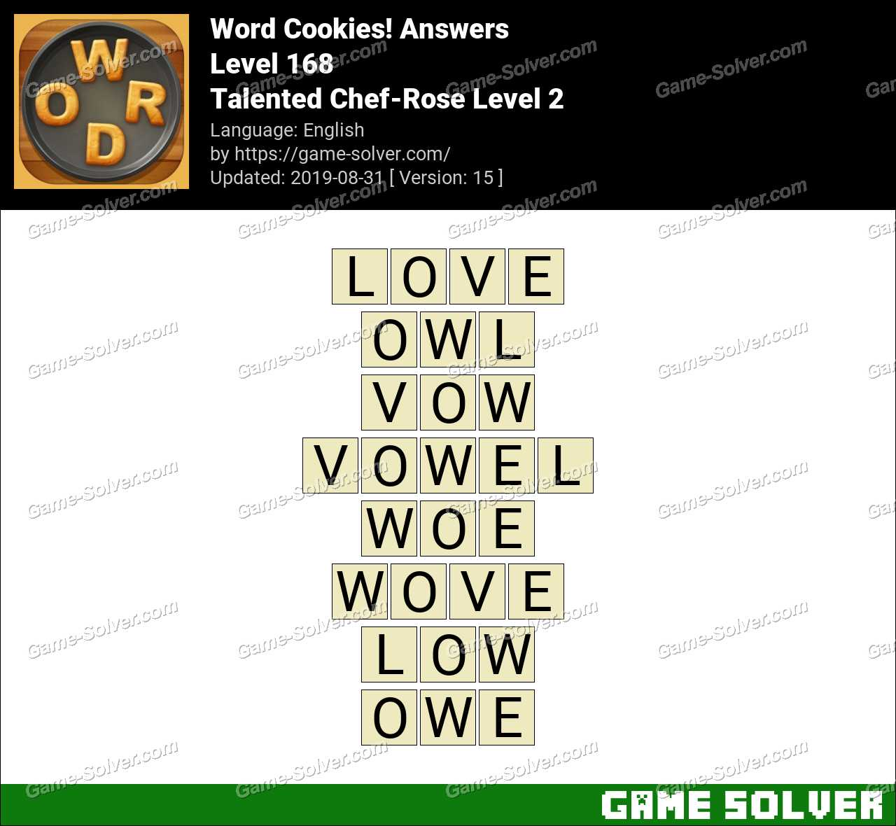 Word Cookies Talented Chef-Rose Level 2 Answers