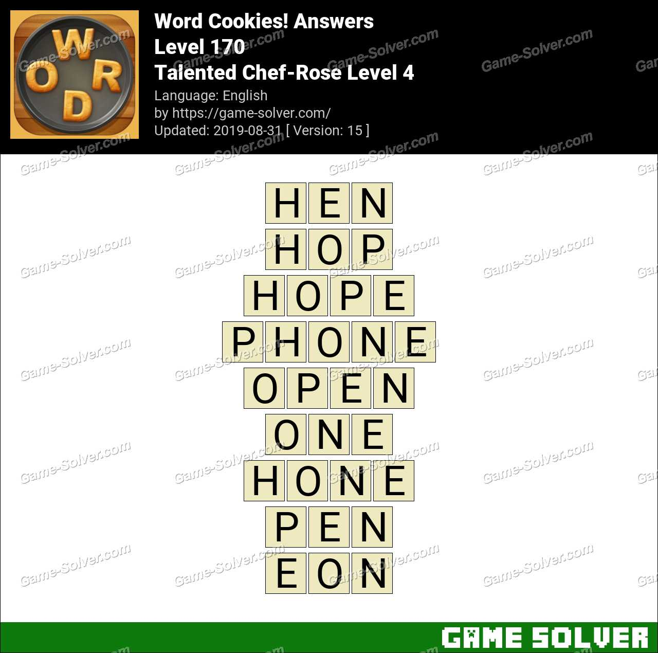 Word Cookies Talented Chef-Rose Level 4 Answers