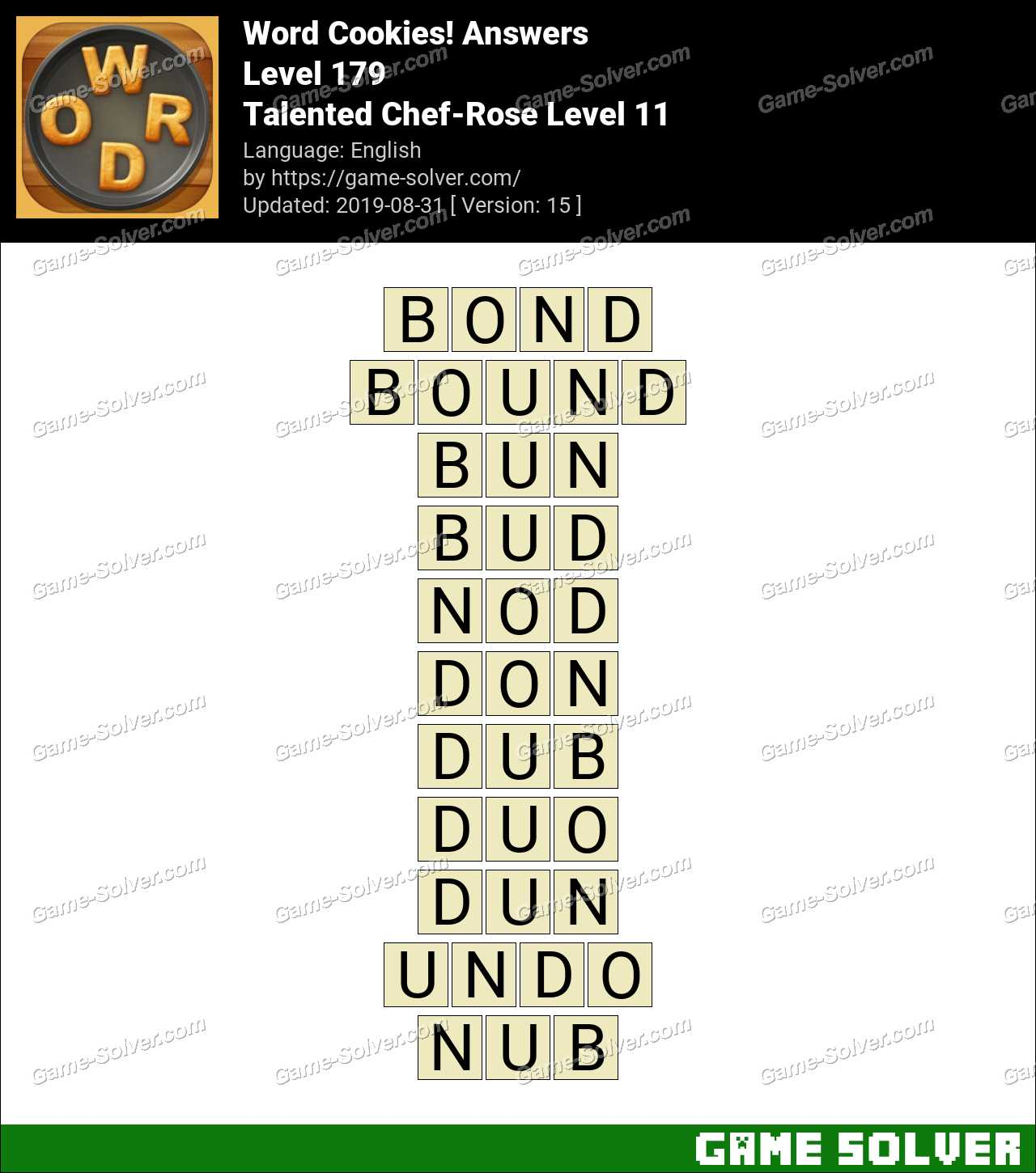 Word Cookies Talented Chef-Rose Level 11 Answers