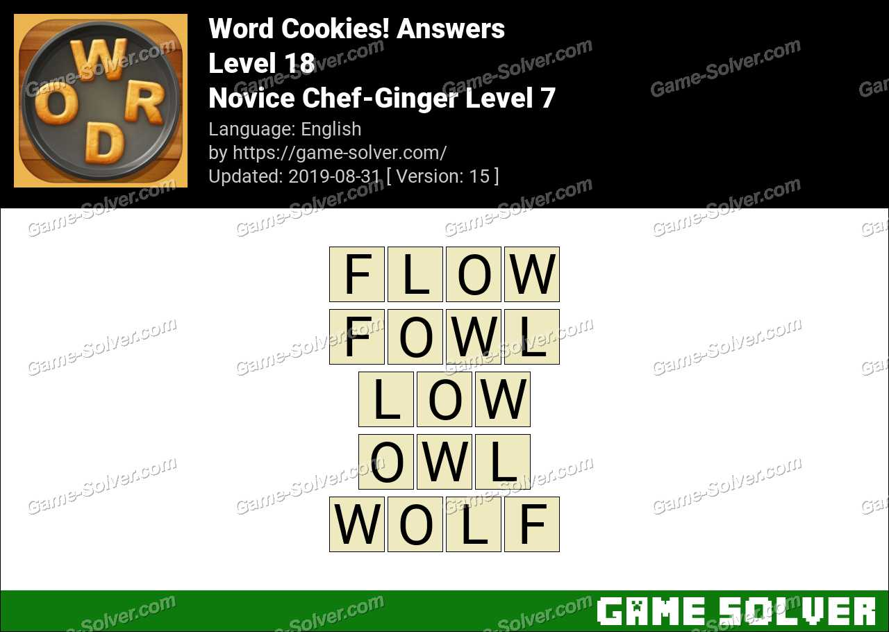 Word Cookies Novice Chef-Ginger Level 7 Answers