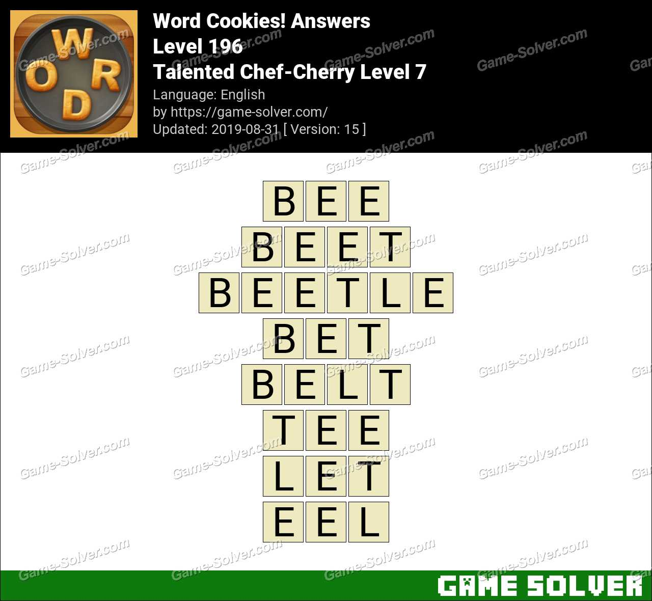 Word Cookies Talented Chef-Cherry Level 7 Answers