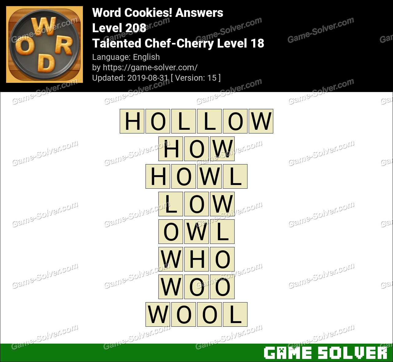 Word Cookies Talented Chef-Cherry Level 18 Answers