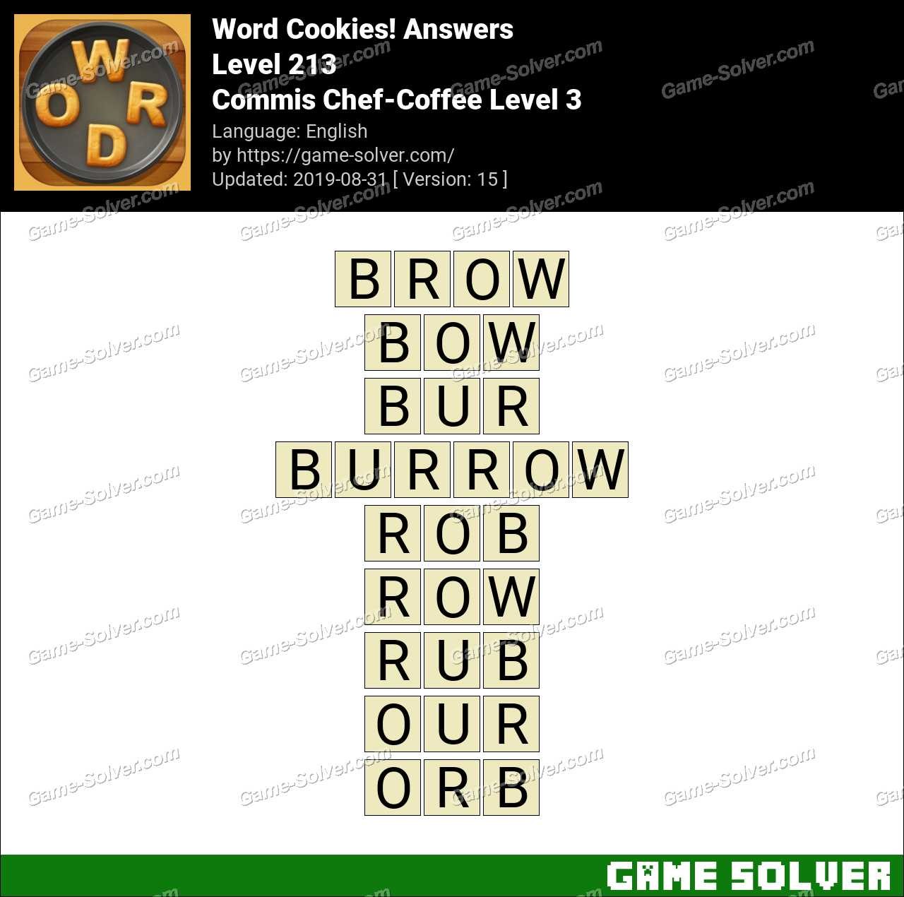 Word Cookies Commis Chef-Coffee Level 3 Answers