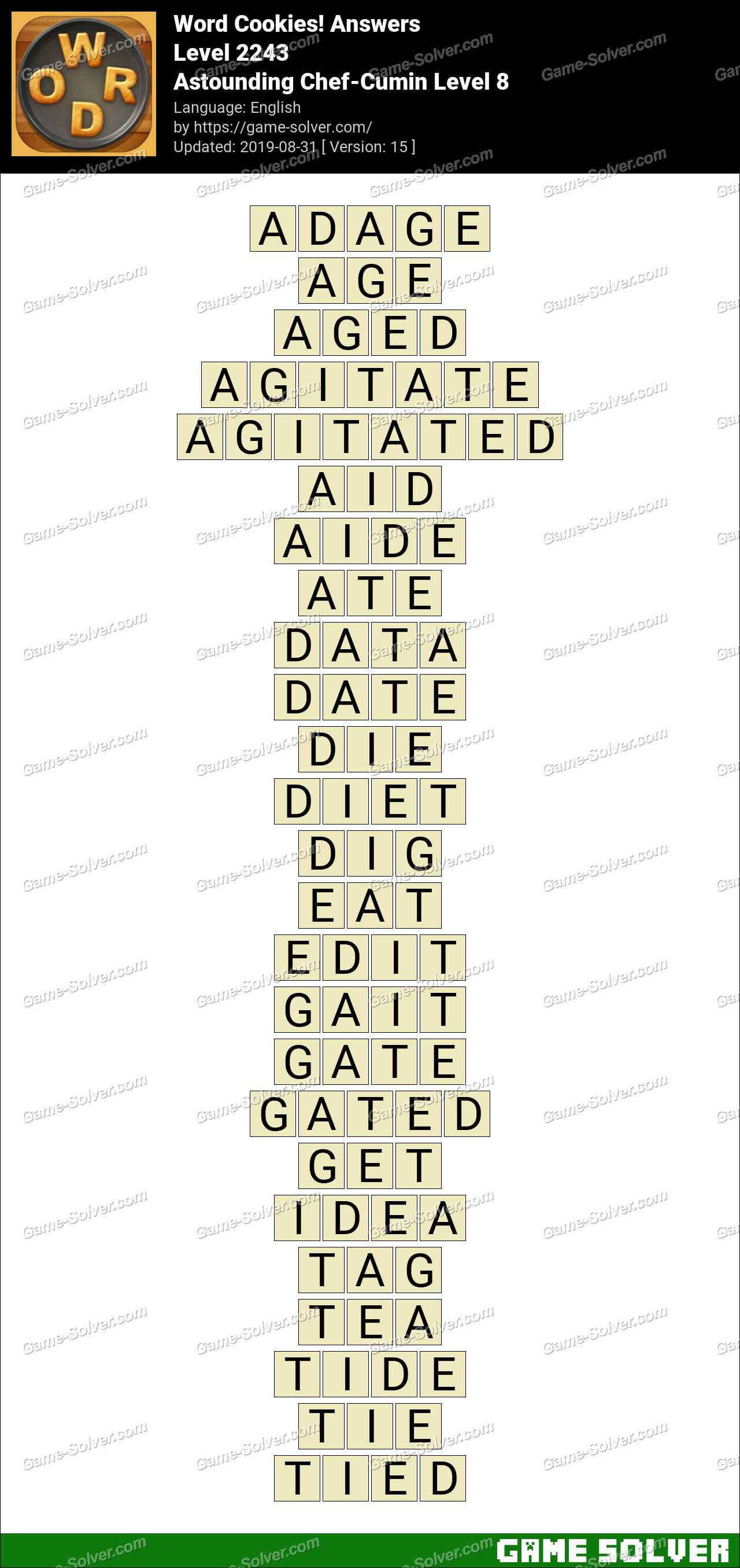 Word Cookies Astounding Chef-Cumin Level 8 Answers