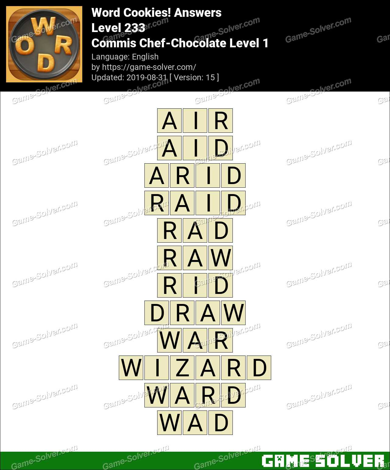 Word Cookies Commis Chef-Chocolate Level 1 Answers