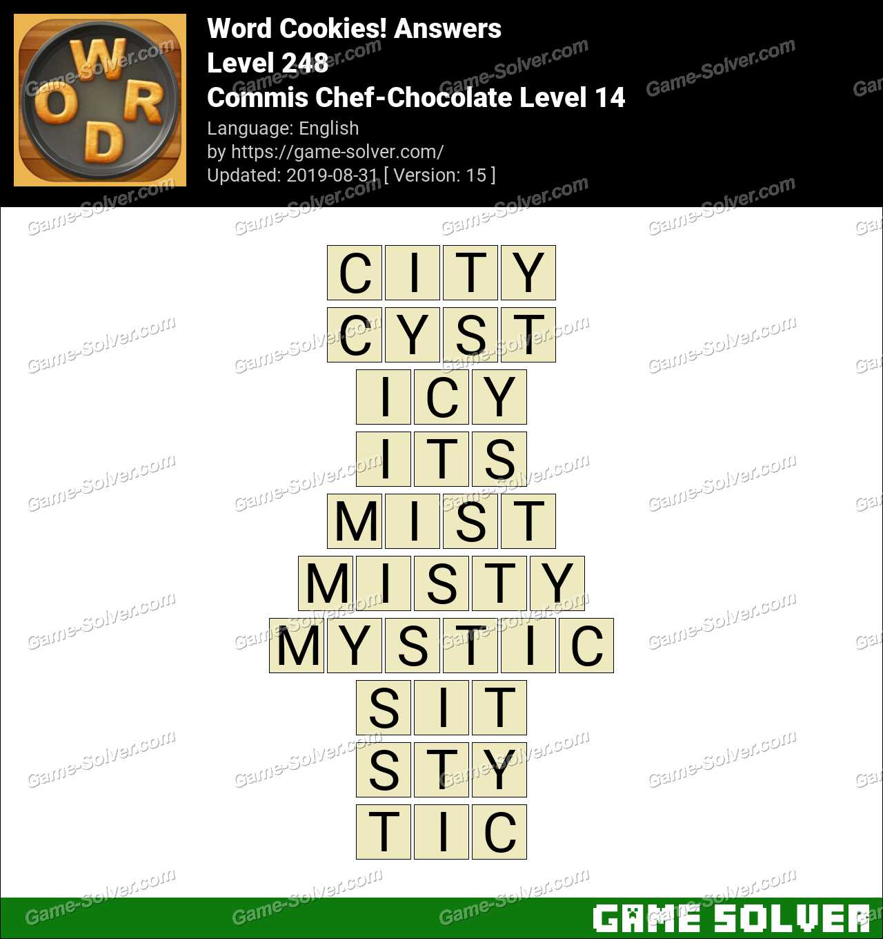 Word Cookies Commis Chef-Chocolate Level 14 Answers