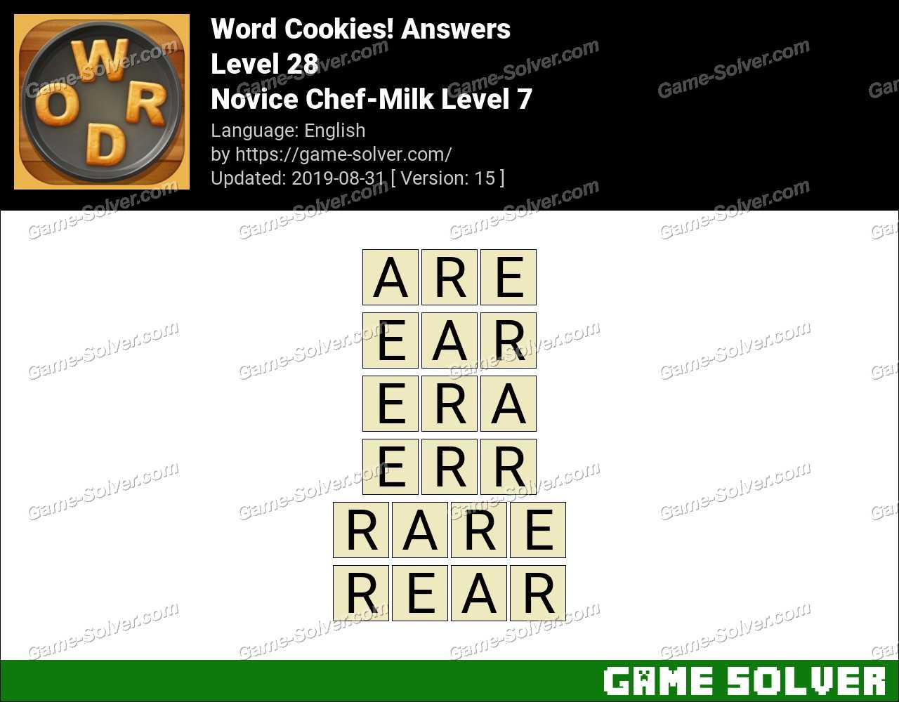 Word Cookies Novice Chef-Milk Level 7 Answers