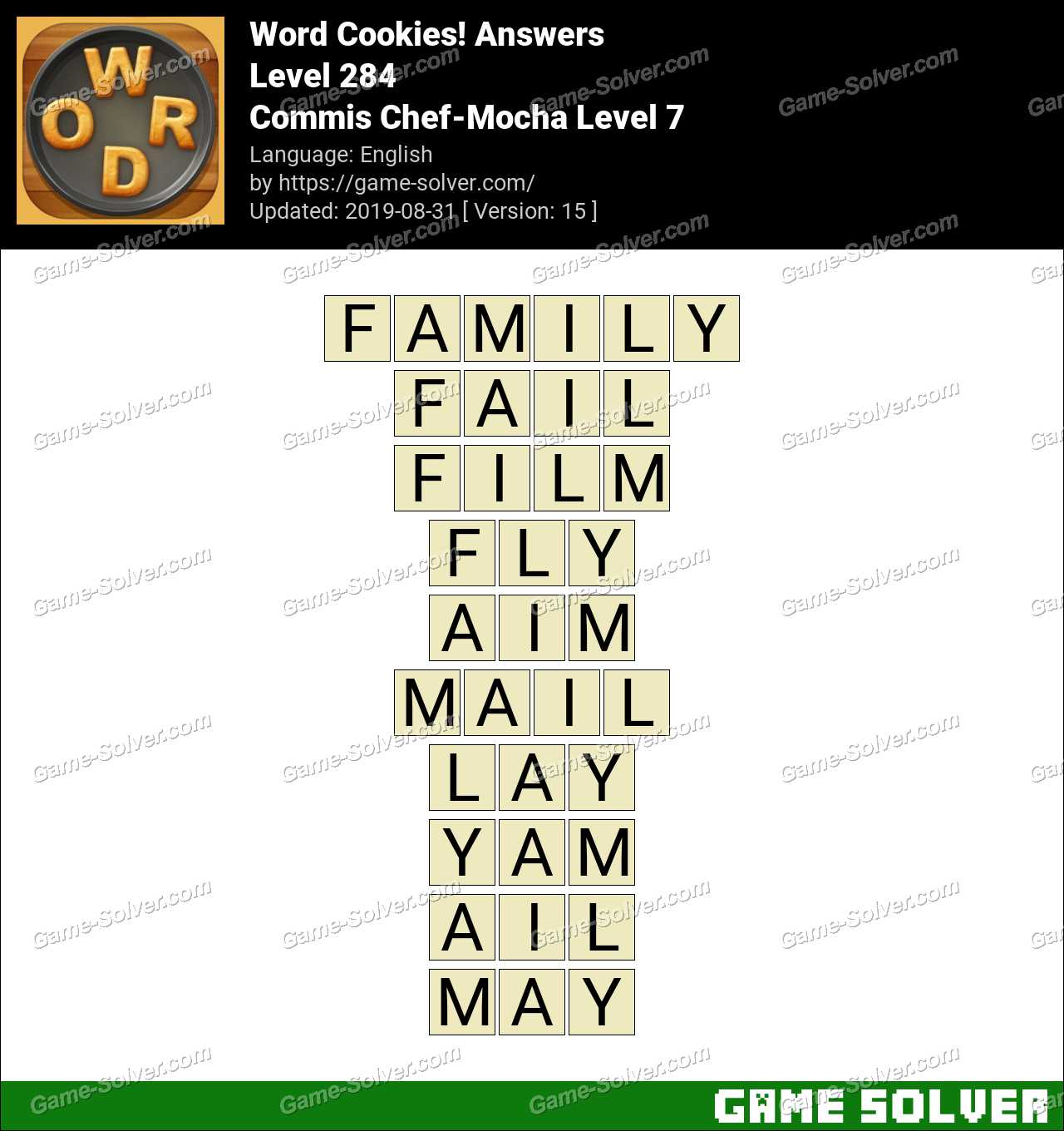Word Cookies Commis Chef-Mocha Level 7 Answers