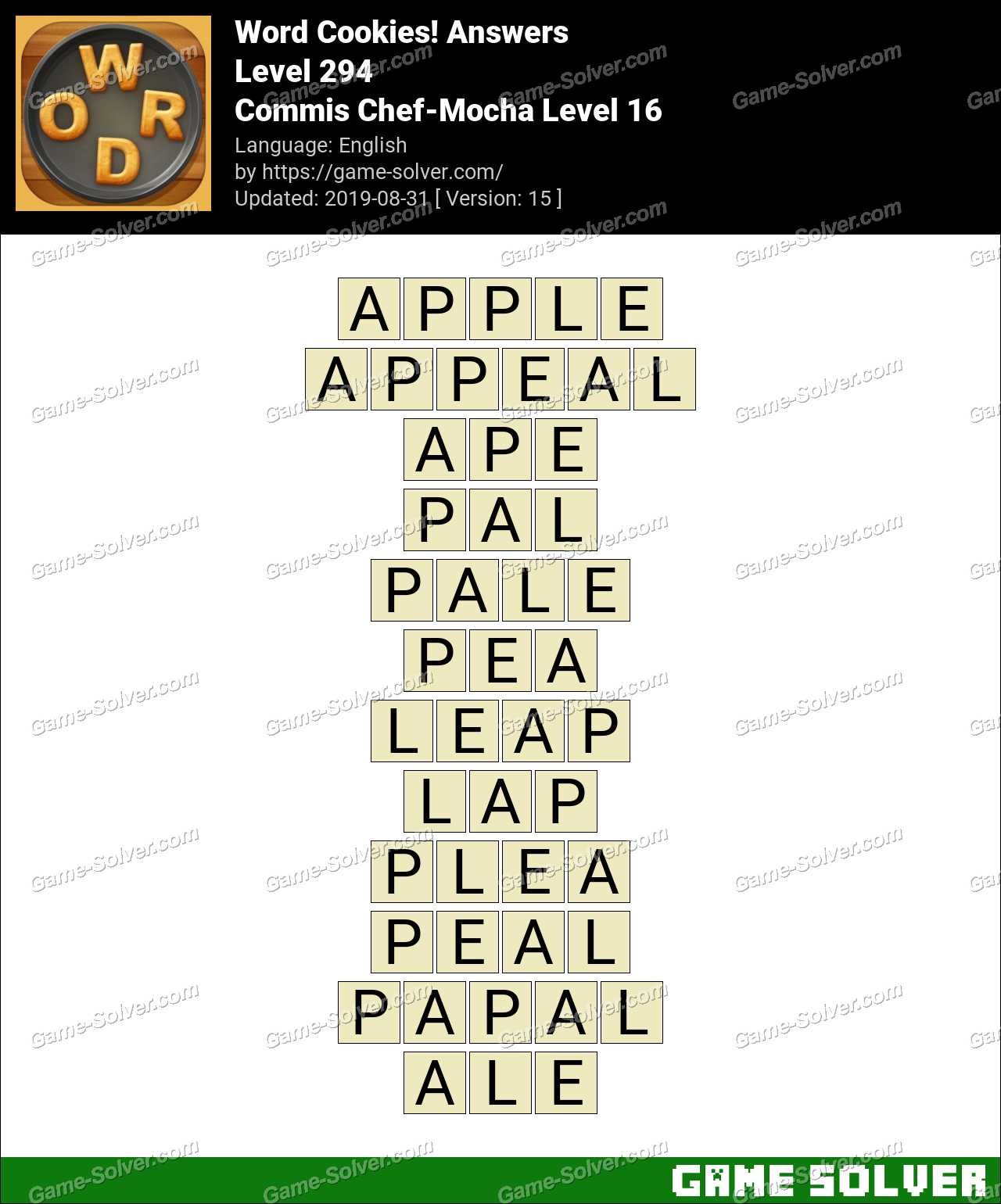 Word Cookies Commis Chef-Mocha Level 16 Answers