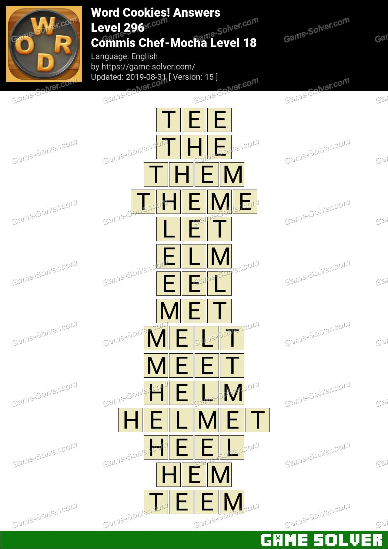 Word Cookies Commis Chef-Mocha Level 18 Answers