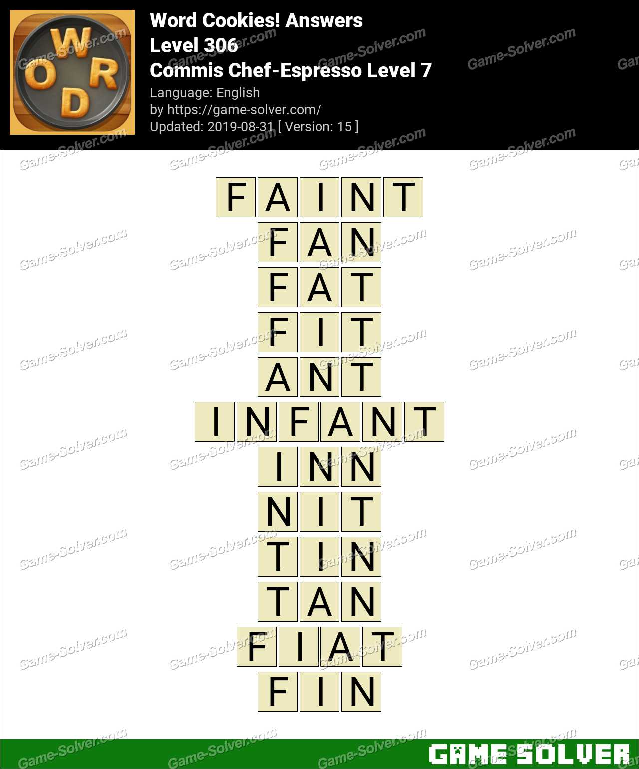 Word Cookies Commis Chef-Espresso Level 7 Answers