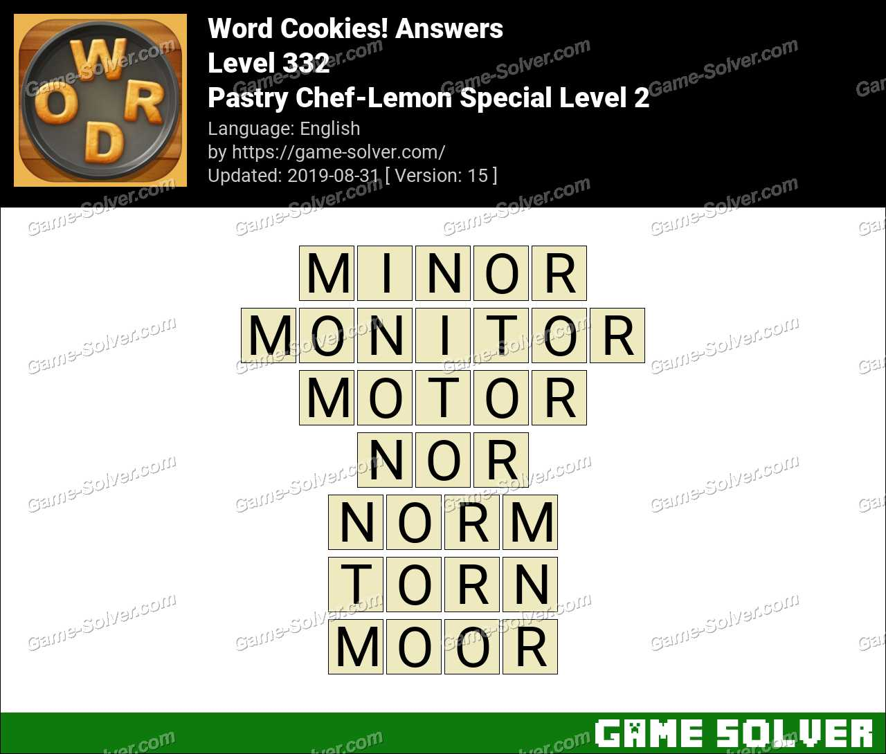 Word Cookies Pastry Chef-Lemon Special Level 2 Answers
