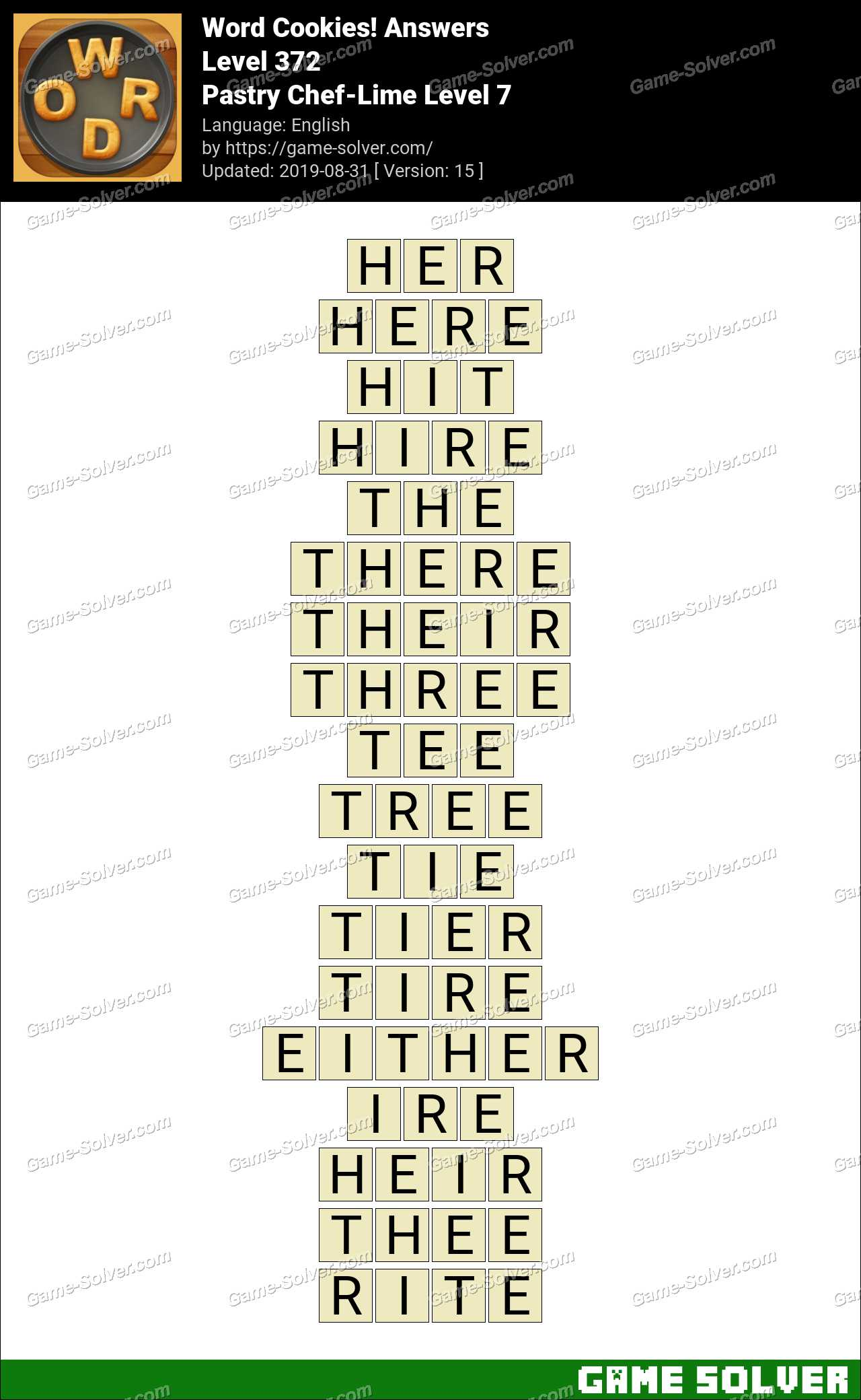 Word Cookies Pastry Chef-Lime Level 7 Answers