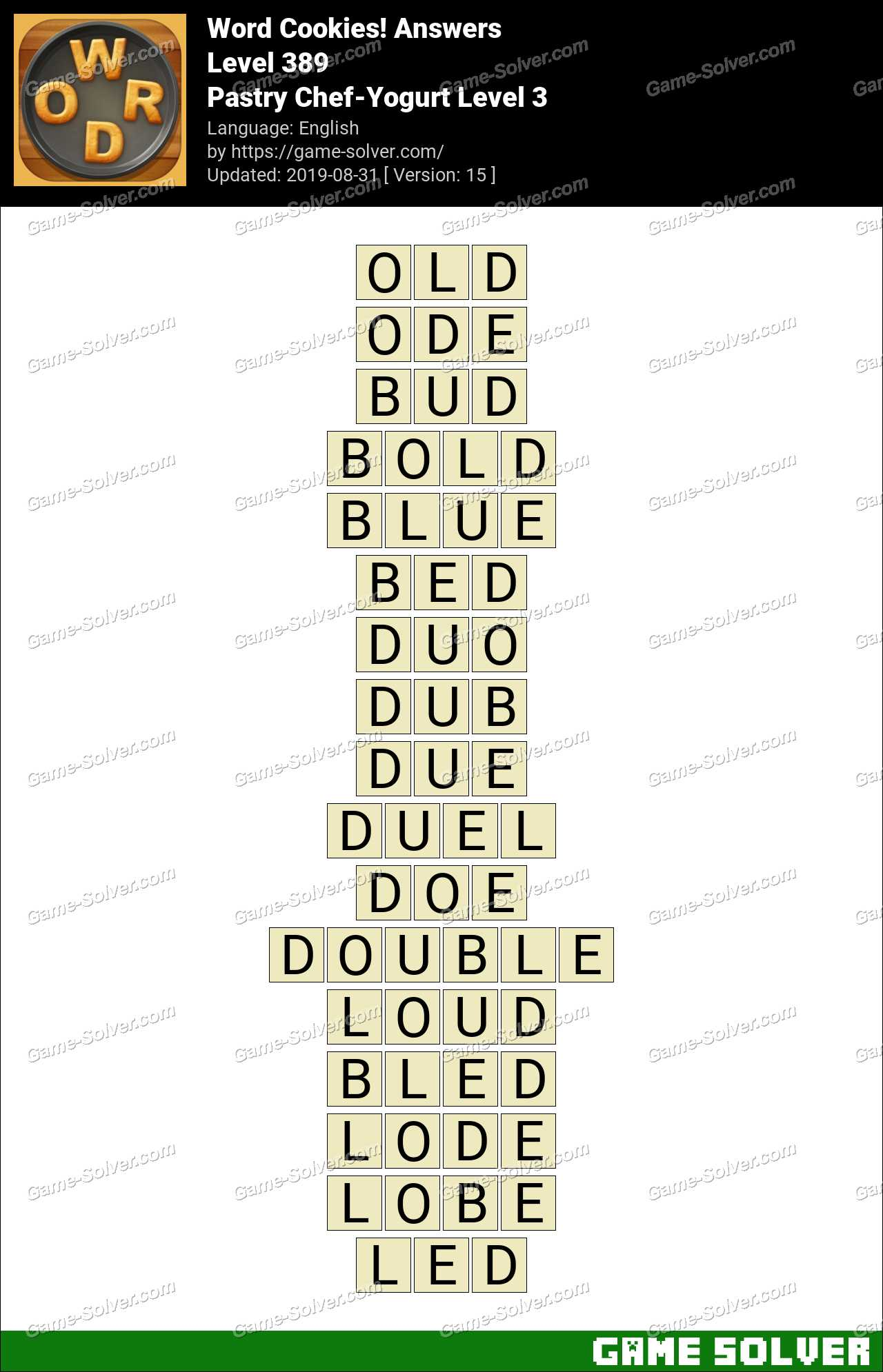 Word Cookies Pastry Chef-Yogurt Level 3 Answers